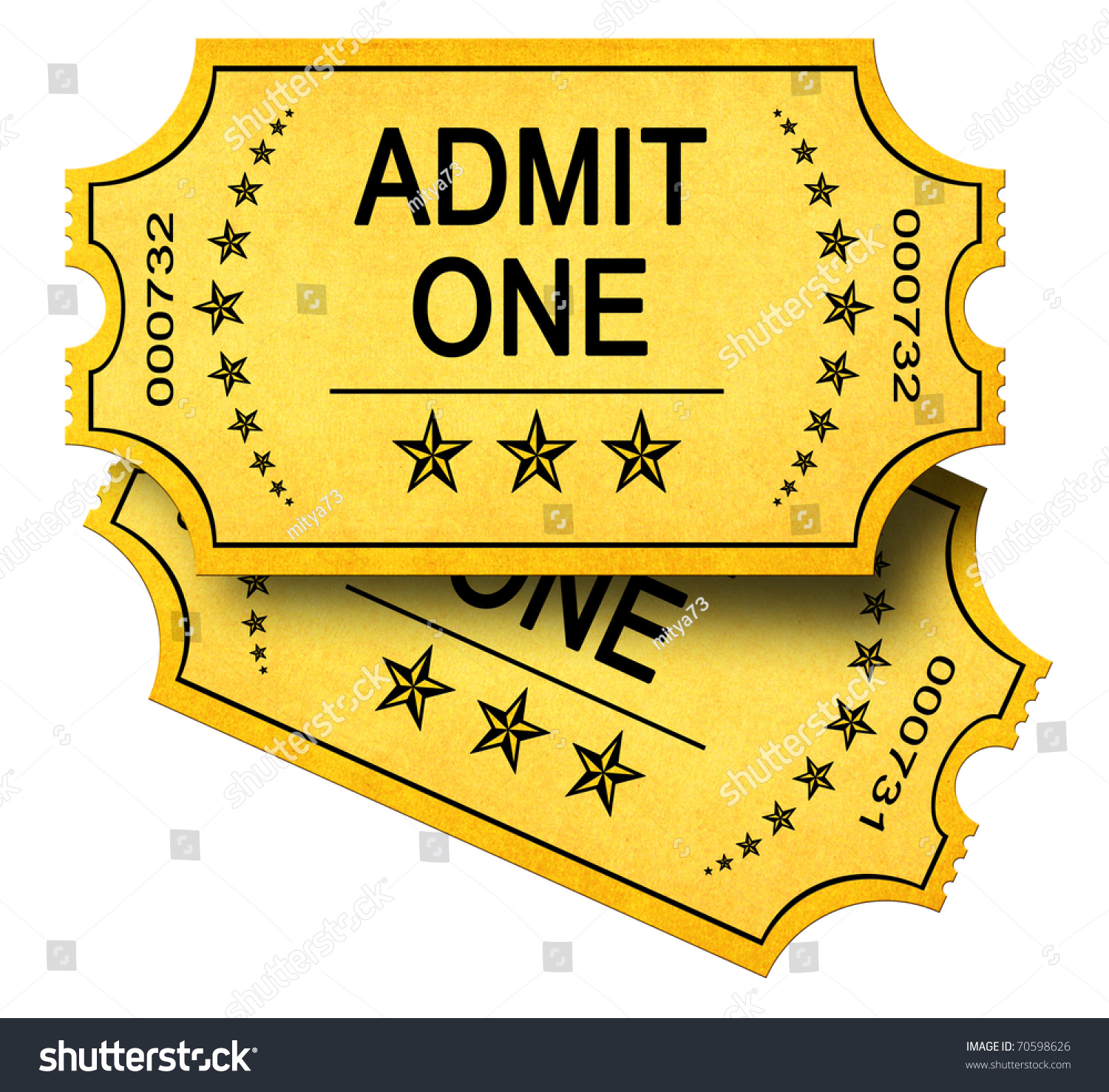 Two Admit One Tickets Isolated On Illustration 70598626 – Broadway Ticket Template