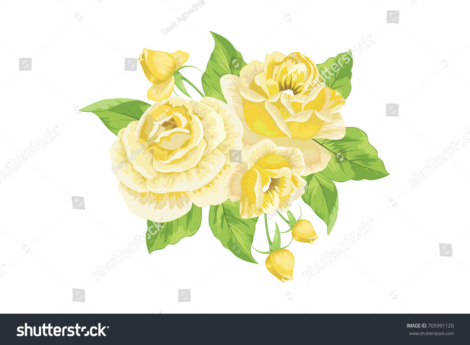 Bright Yellow Roses Bouquet Flowers Arrangement Stock Vector