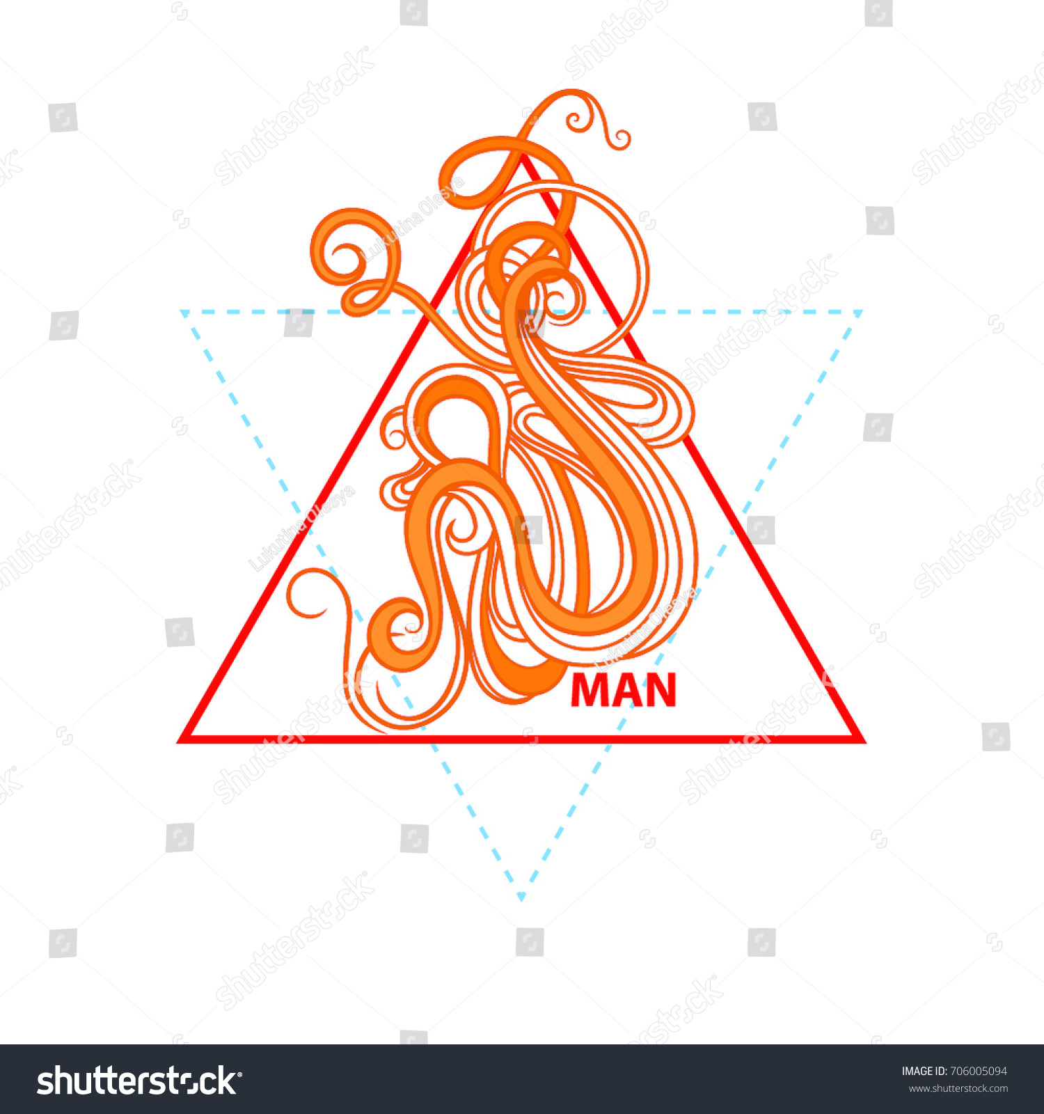Sacred Geometry Triangle Masculinity Symbol Fire Stock Vector