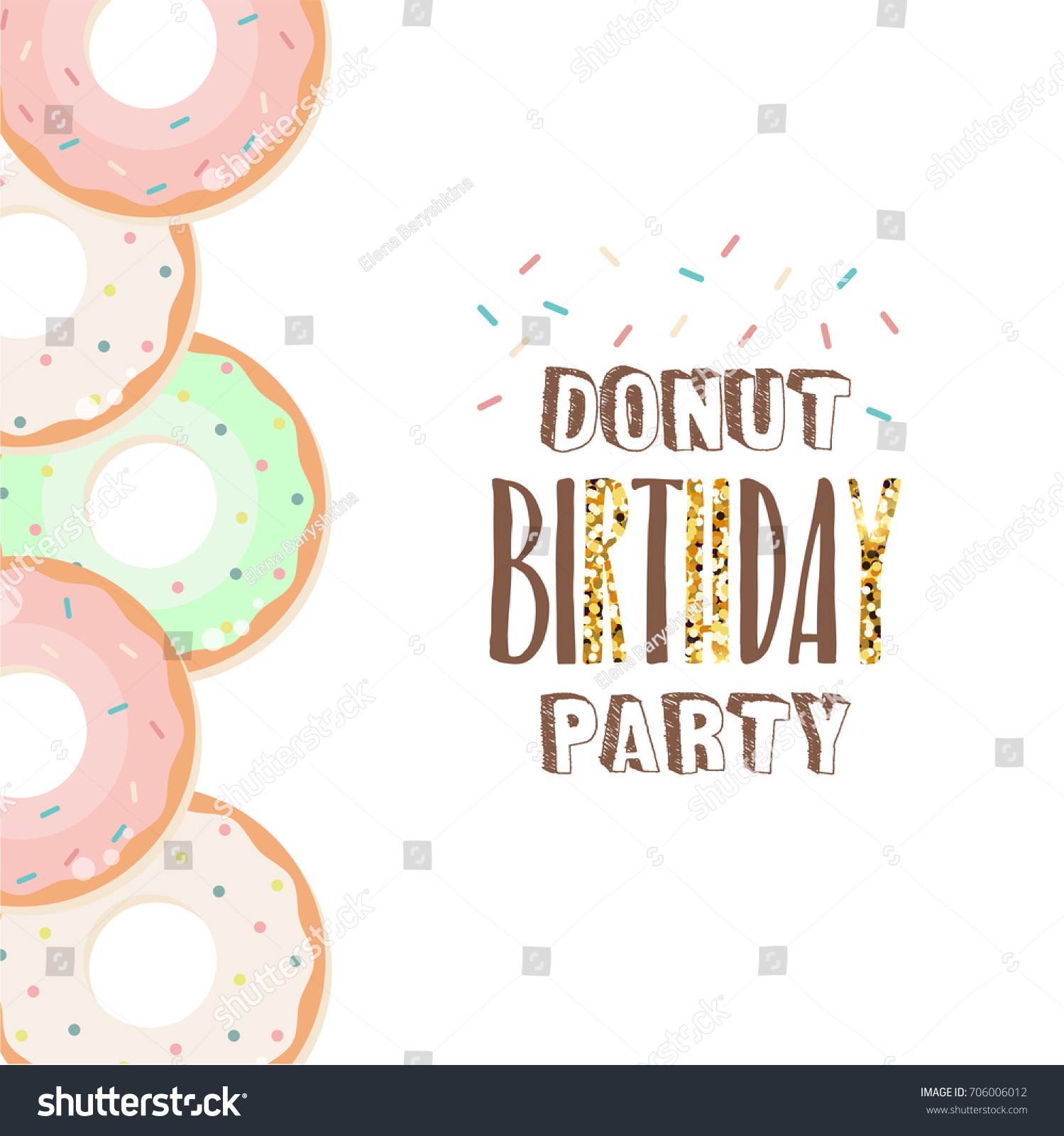 Royalty Free Stock Illustration of Donut Birthday Party Invitation ...