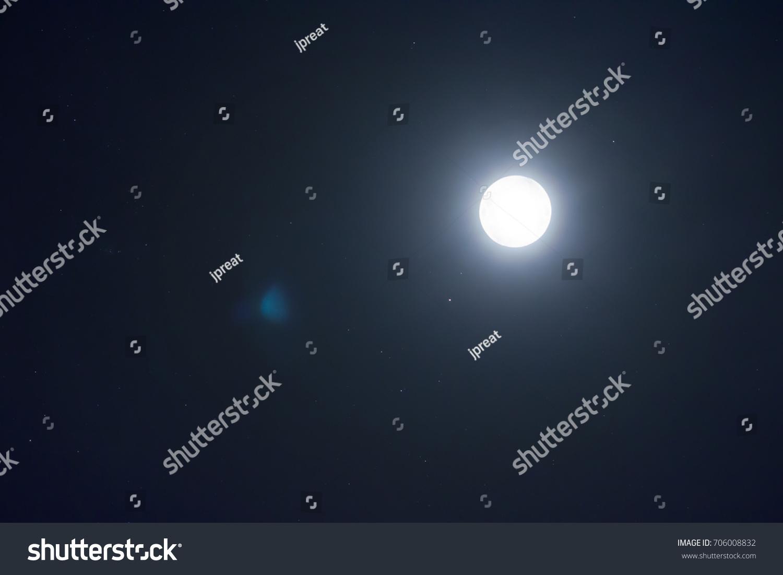 lighting of full moon on night time and dark sky have a small star. & Lighting Full Moon On Night Time Stock Photo 706008832 - Shutterstock azcodes.com