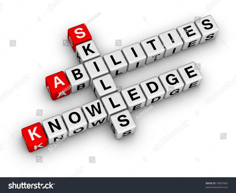 skills knowledge abilities crossword series stock illustration skills knowledge abilities crossword series