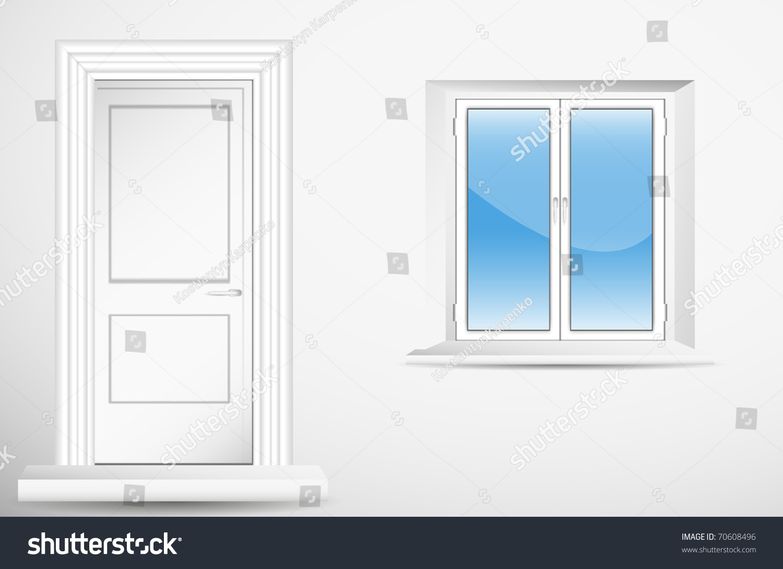 Door And Window In Empty Room. Vector. - 70608496 ...