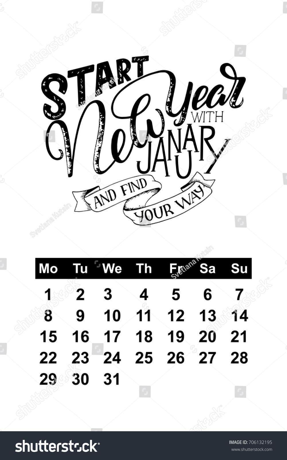 Vector Calendar January 2018 Hand Drawn Stock Vector Royalty Free