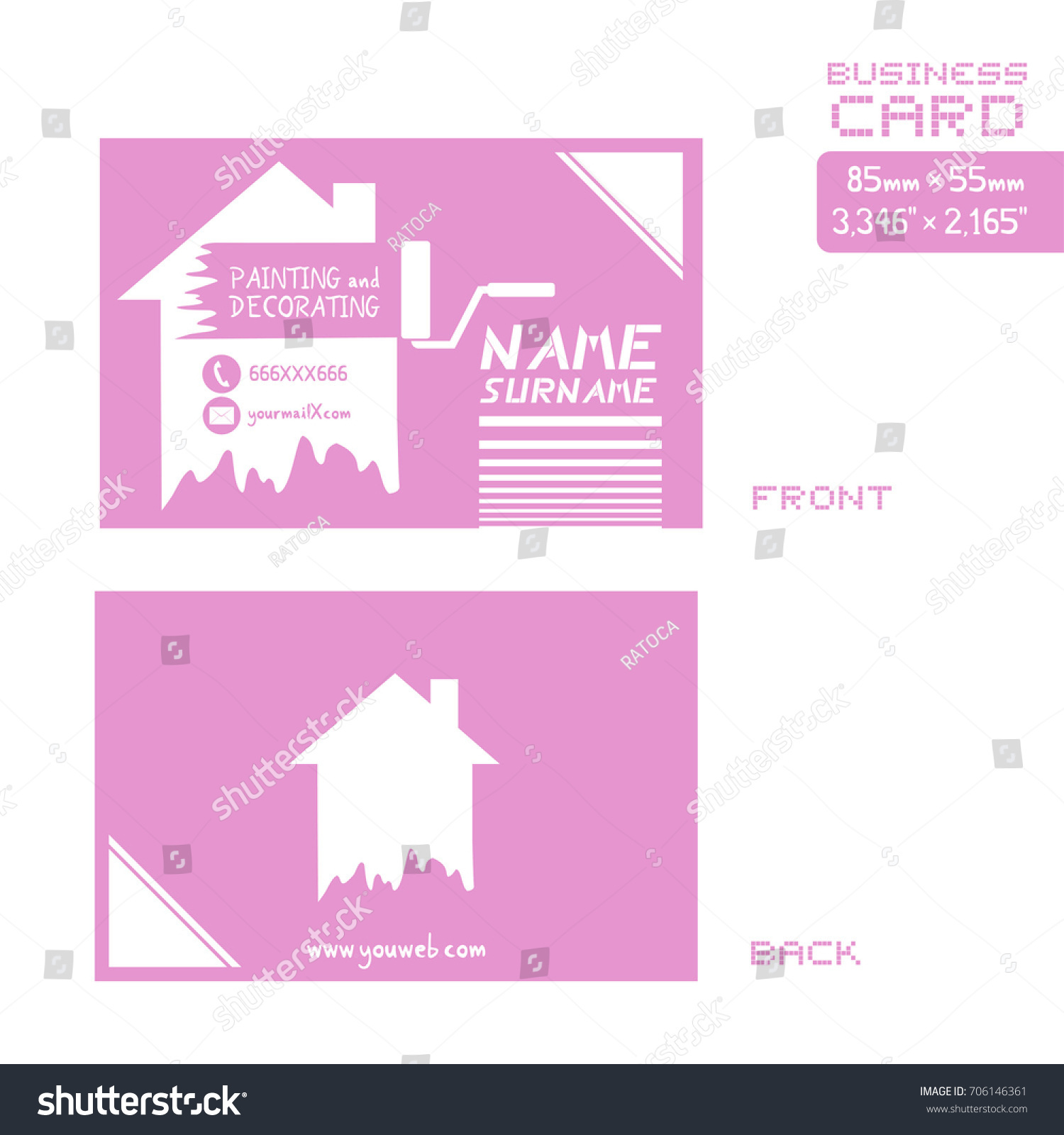 Business card painter worker stock vector 706146361 shutterstock business card for painter worker magicingreecefo Gallery