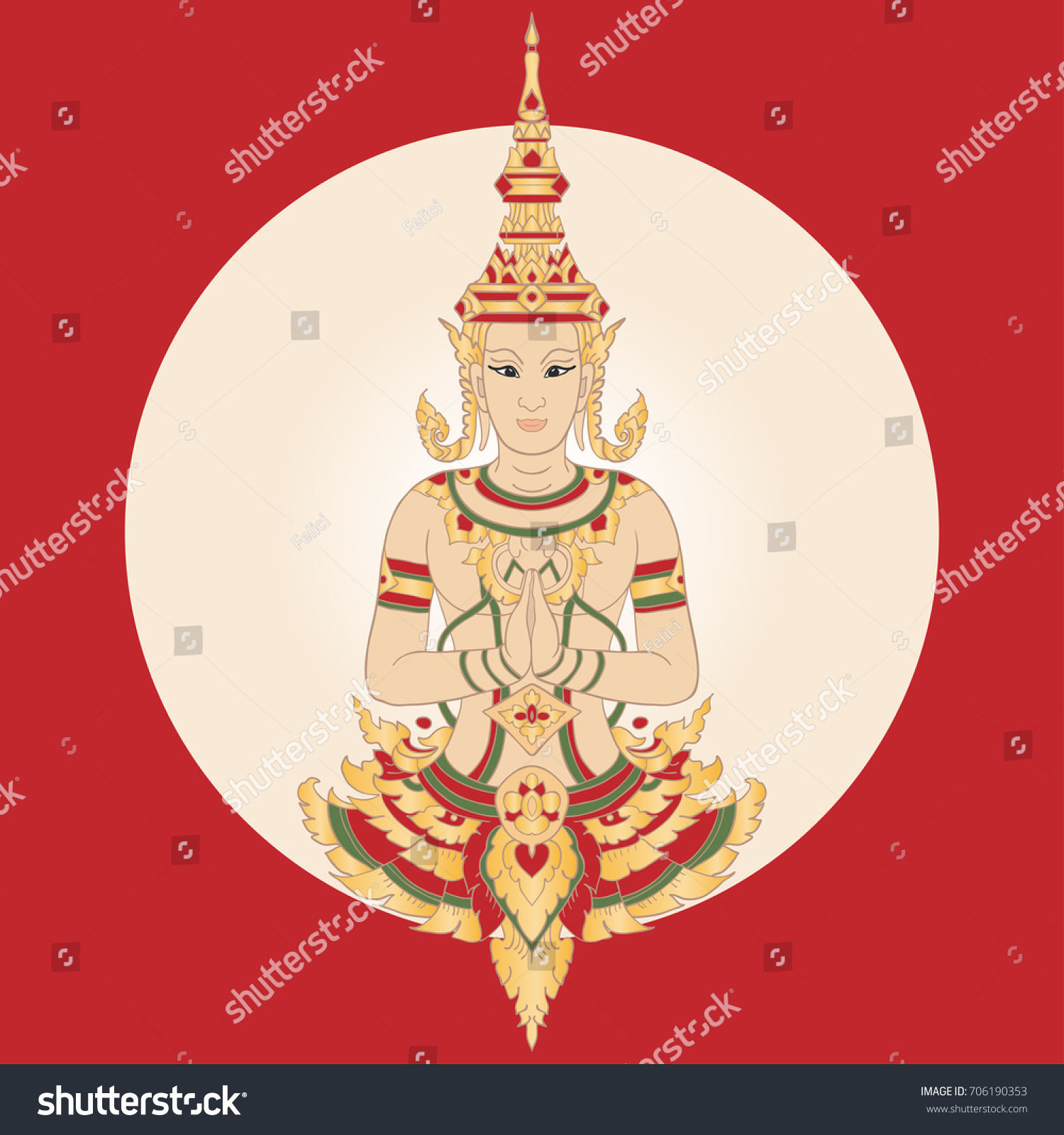 Thailand greeting card traditional thai ornament stock vector thailand greeting card traditional thai ornament with golden red elements yellow gradient background kristyandbryce Images