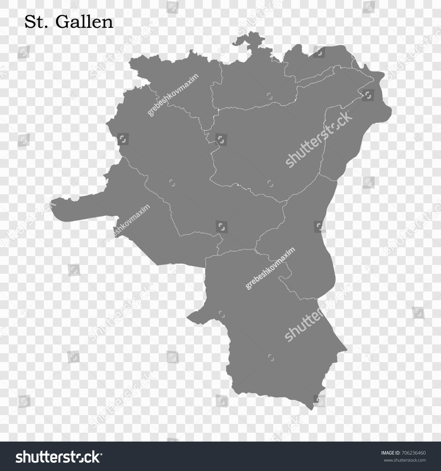 High Quality Map St Gallen Canton Stock Vector 2018 706236460