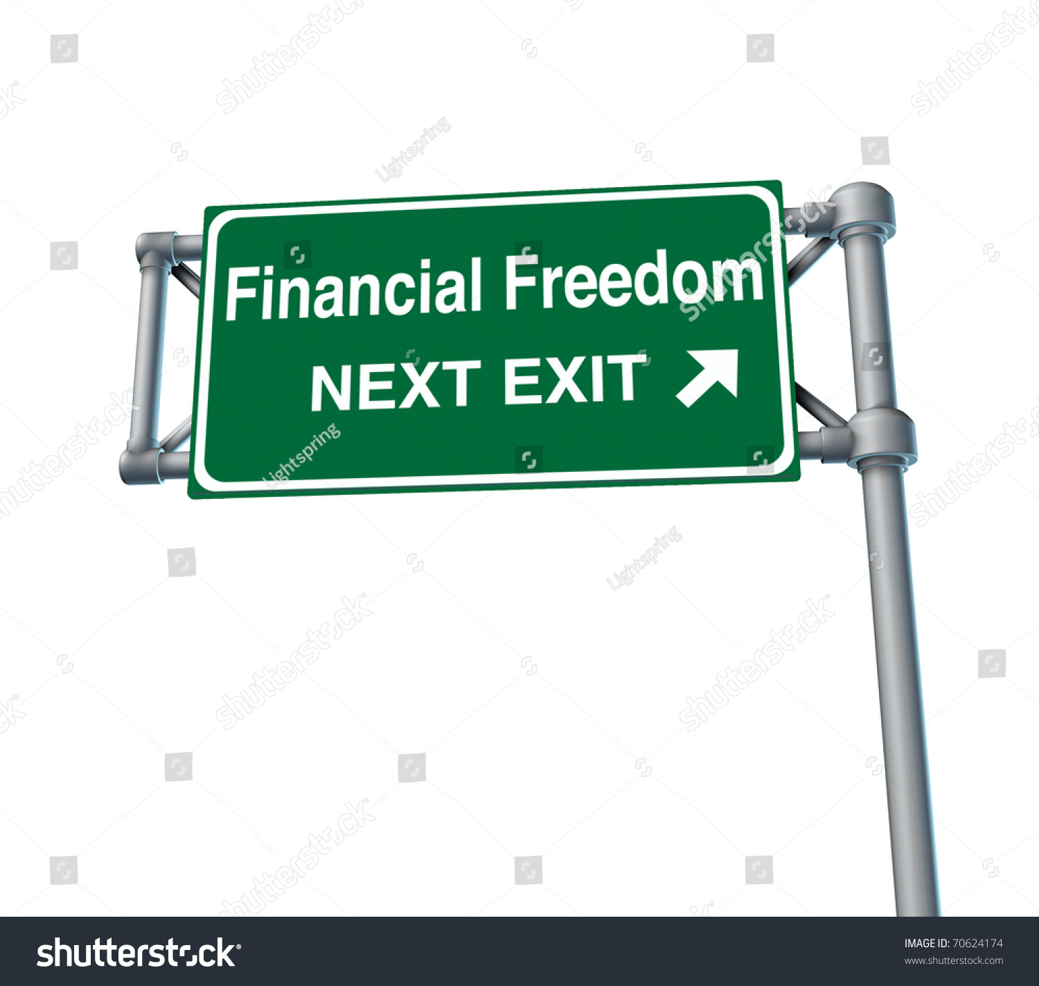 Finance Sign: Financial Freedom Business Freeway Exit Sign Stock