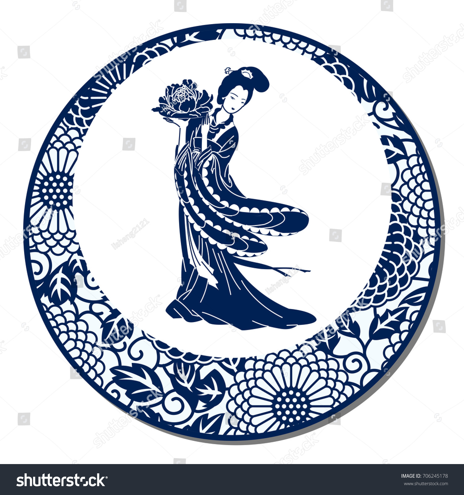Chinese traditional blue white porcelain chinese stock vector chinese traditional blue and white porcelain chinese beauty biocorpaavc Images