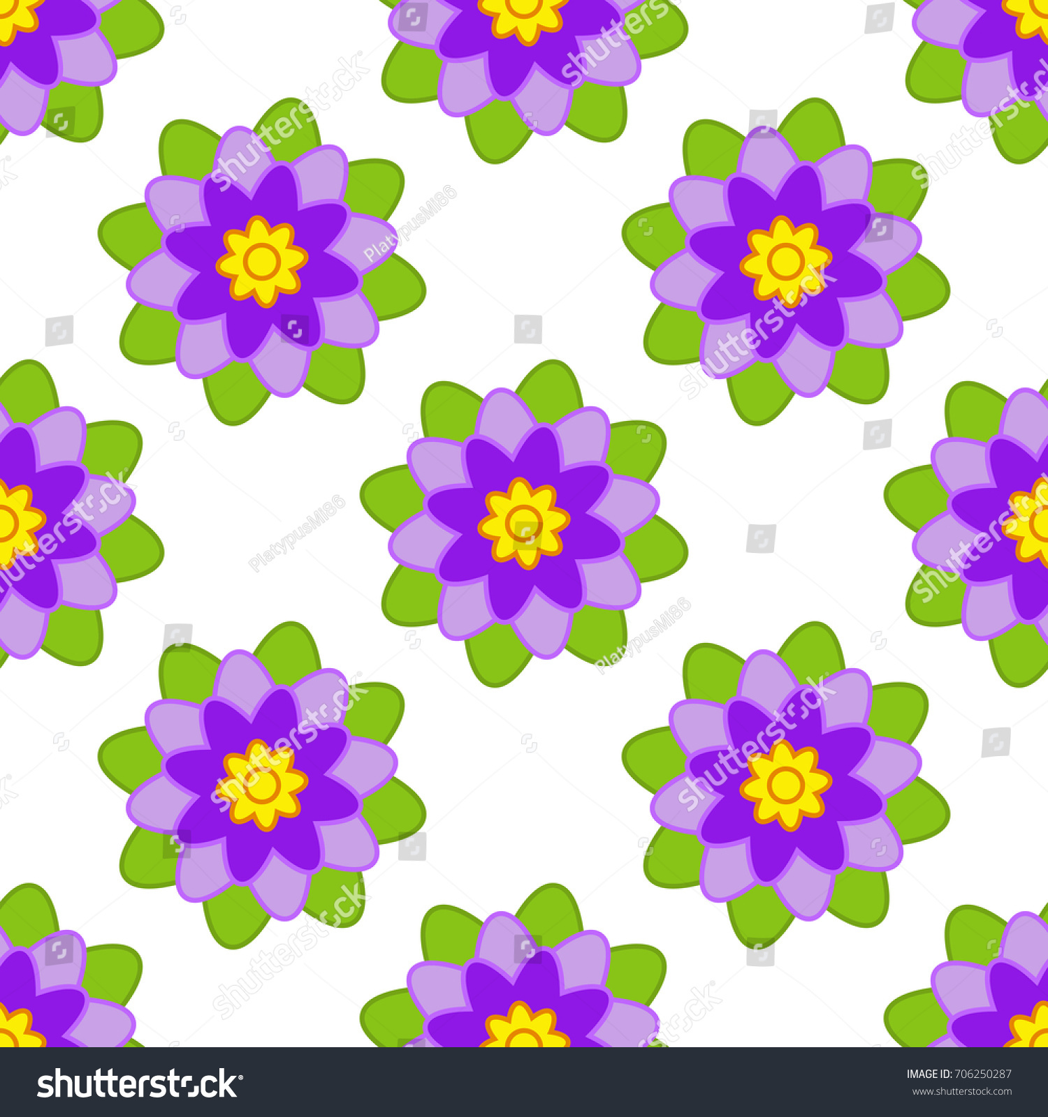 Seamless Pattern Of Purple Flowers With Green Leaves On A White