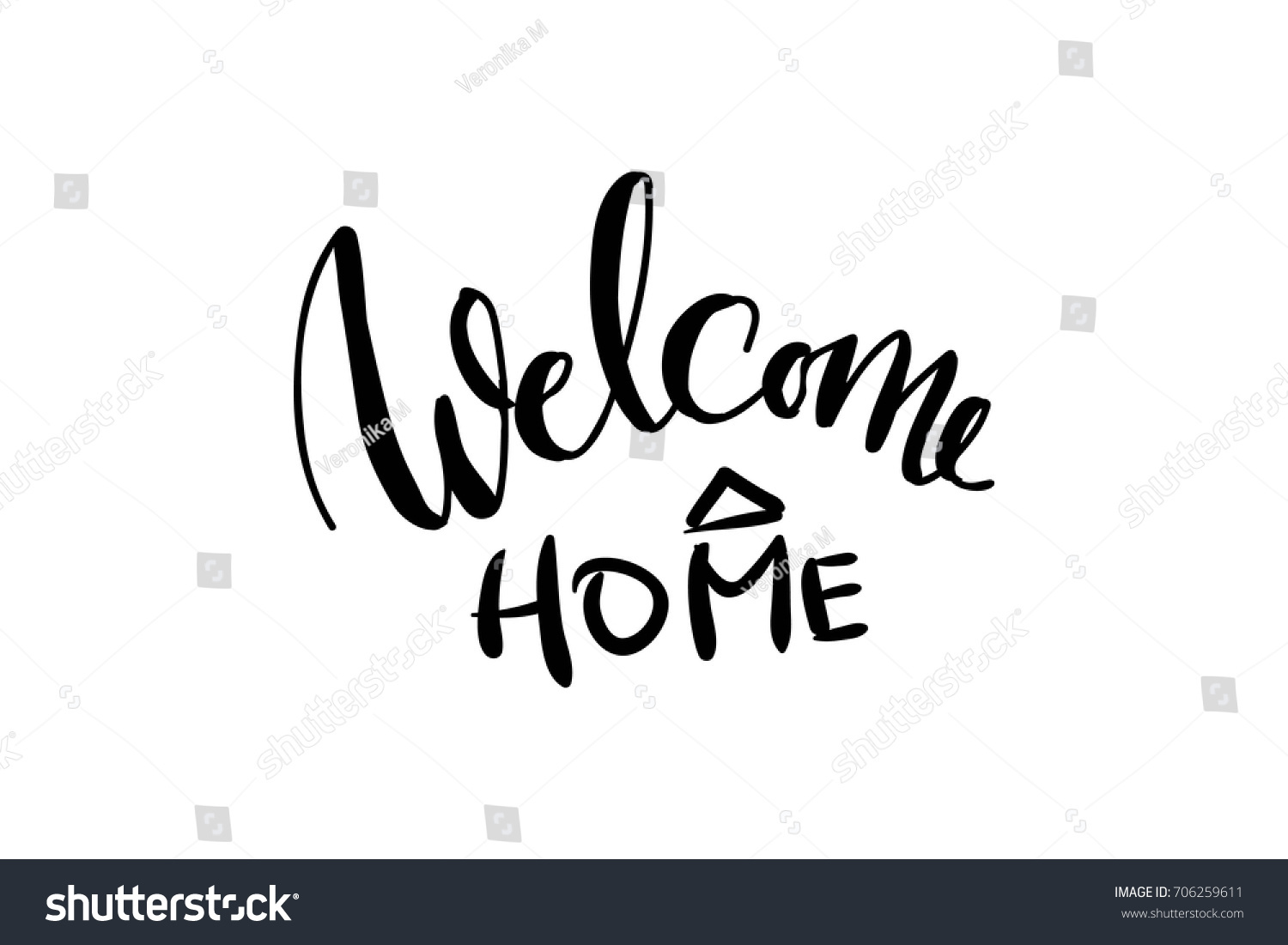 Welcome Home Hand Lettering Illustration Your Stock Photo (Photo ...