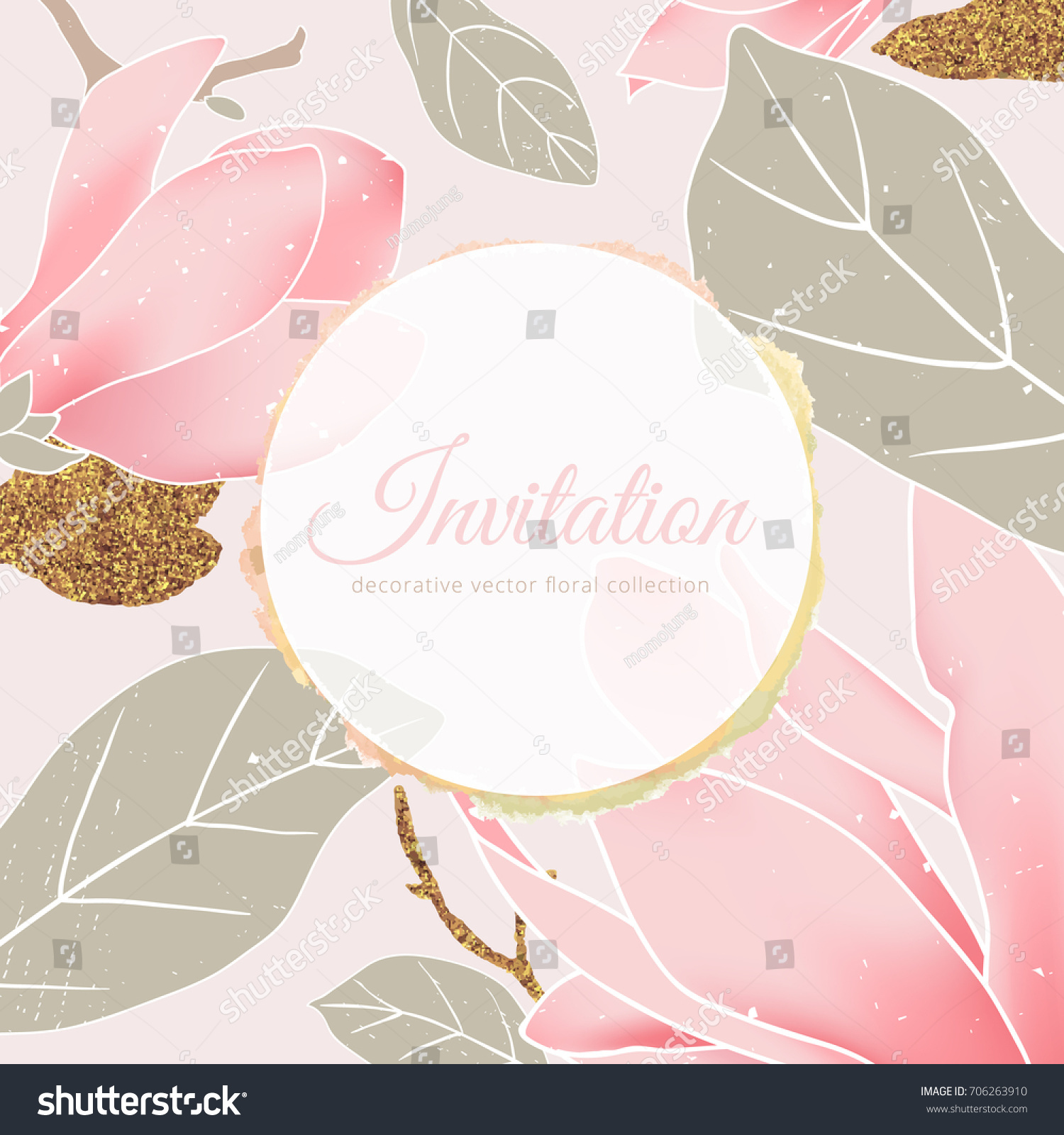 e2de53d2d70c Hand drawn pink magnolia flowers with leaves and grunge golden circle frame  with golden glitter