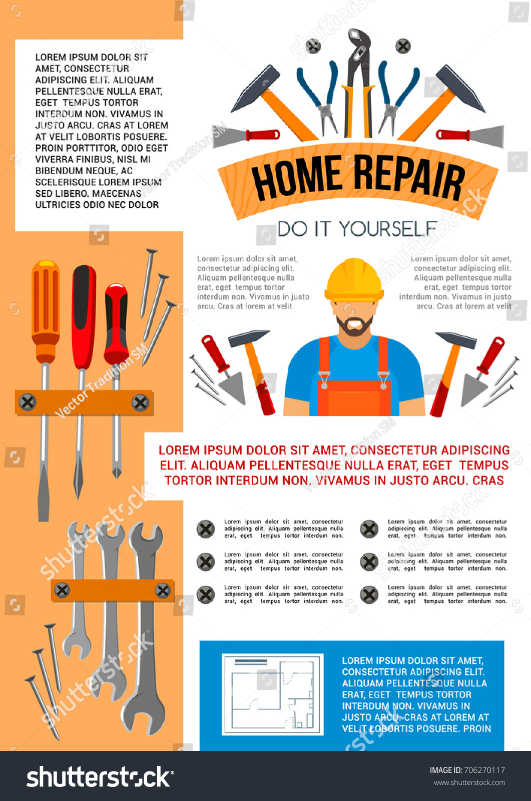 Home repair work tools do yourself stock vector 706270117 home repair work tools and do it yourself toolbox poster for house construction or renovation solutioingenieria