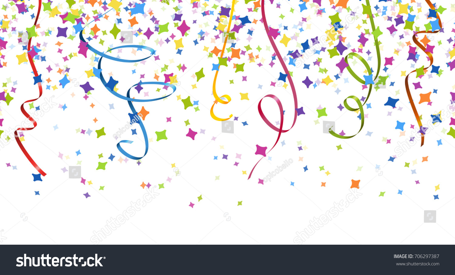 seamless background different colored confetti streamers stock