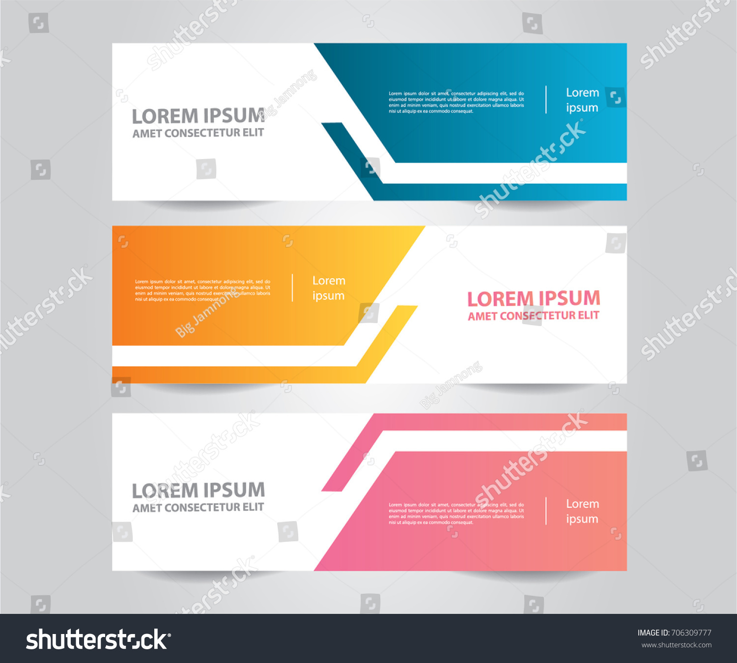 set of banner template modern colorful business banner template blue orange and pink - Template