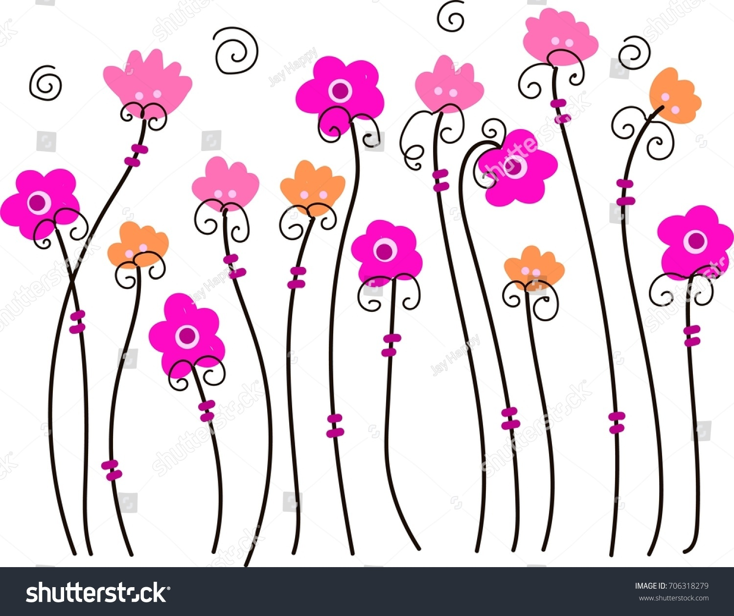 Pink Flower Vine Cute Floral Wallpaper Stock Vector Royalty Free