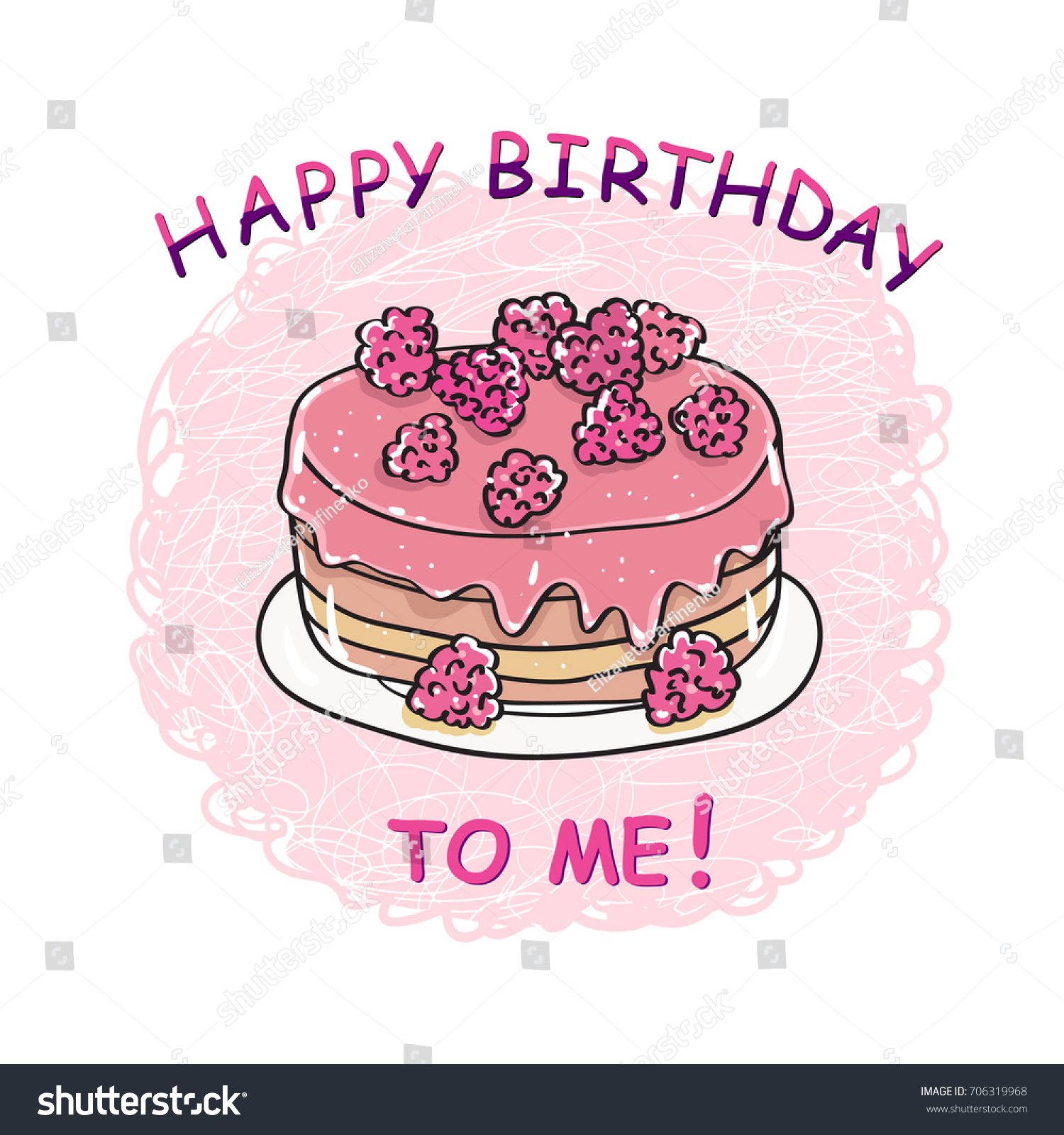 Wonderful Happy Birthday To Me. Birthday Cake. Happy Birthday Card Template. Vector.
