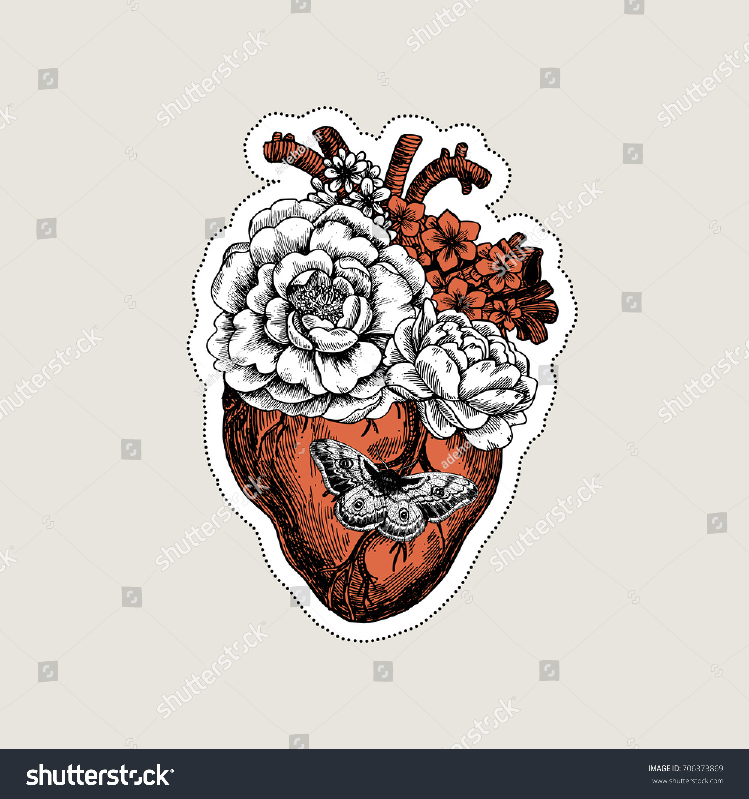 Tattoo Anatomy Vintage Illustration Floral Anatomical Stock Vector ...