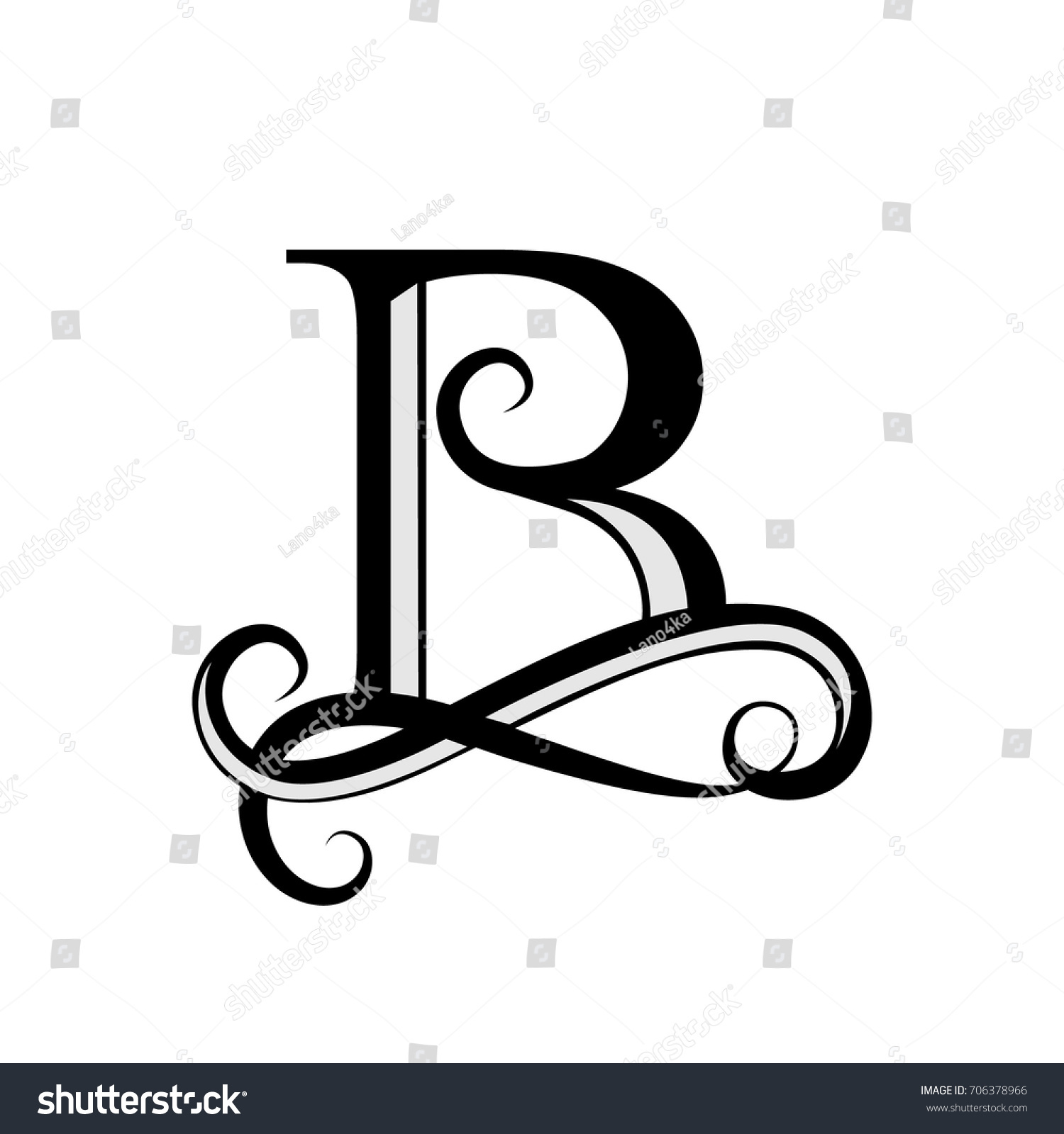 Capital Letter For Monograms And Logos Beautiful Black Vector B Design