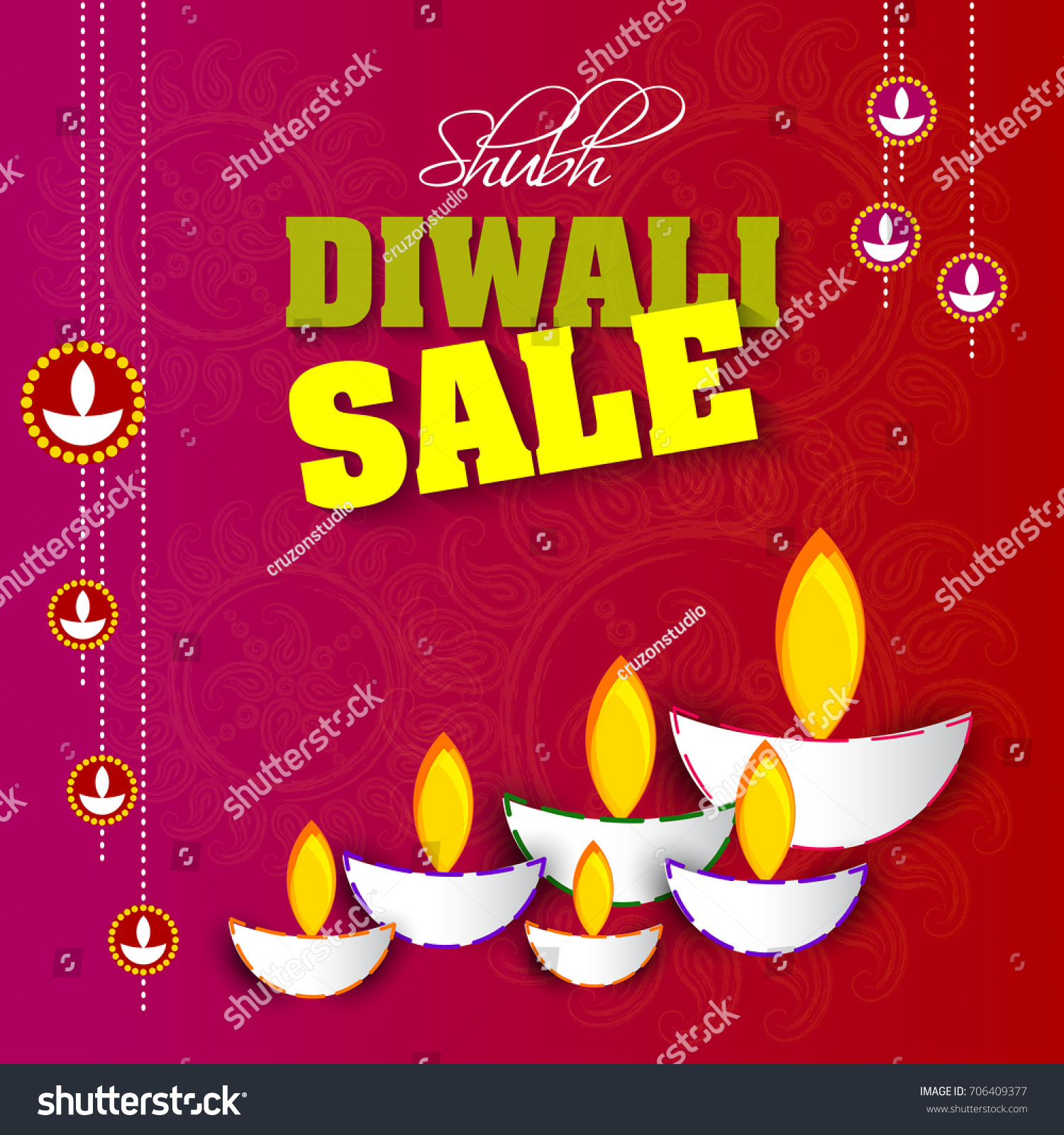 Vector Illustration Greeting Card Diwali Festival Stock Vector