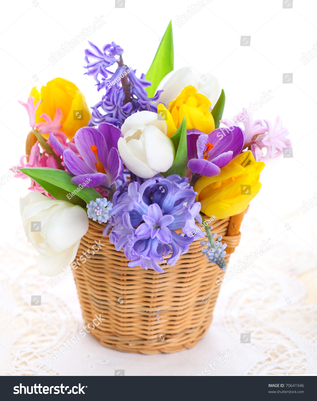 Bouquet Spring Flowers Basket Isolated On Stock Photo Edit Now