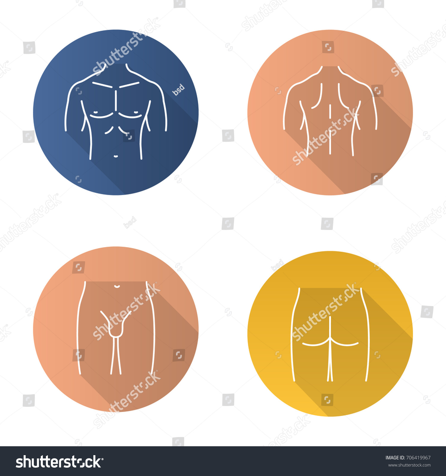 Male Body Parts Flat Linear Long Stock Vector Royalty Free
