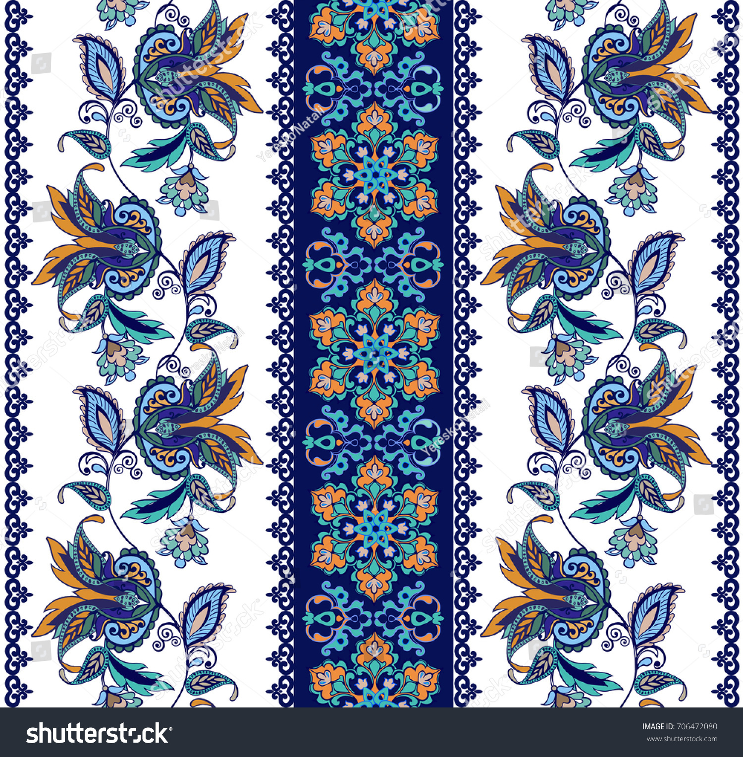 Flower Borders Fantastic Flowers Vintage Flowers Stock Vector