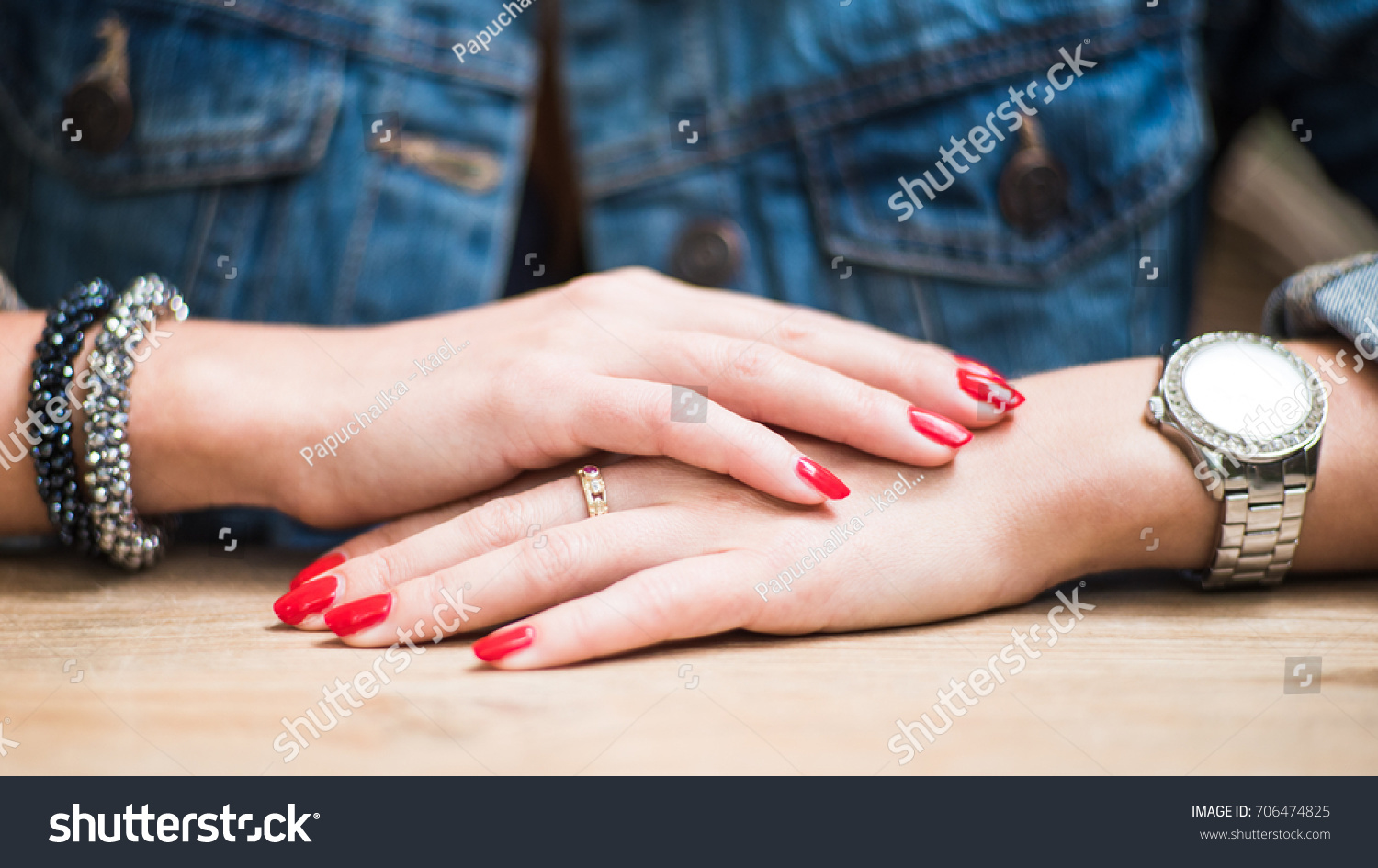 Girls Hands Bright Red Nails Luxury Stock Photo 706474825 ...