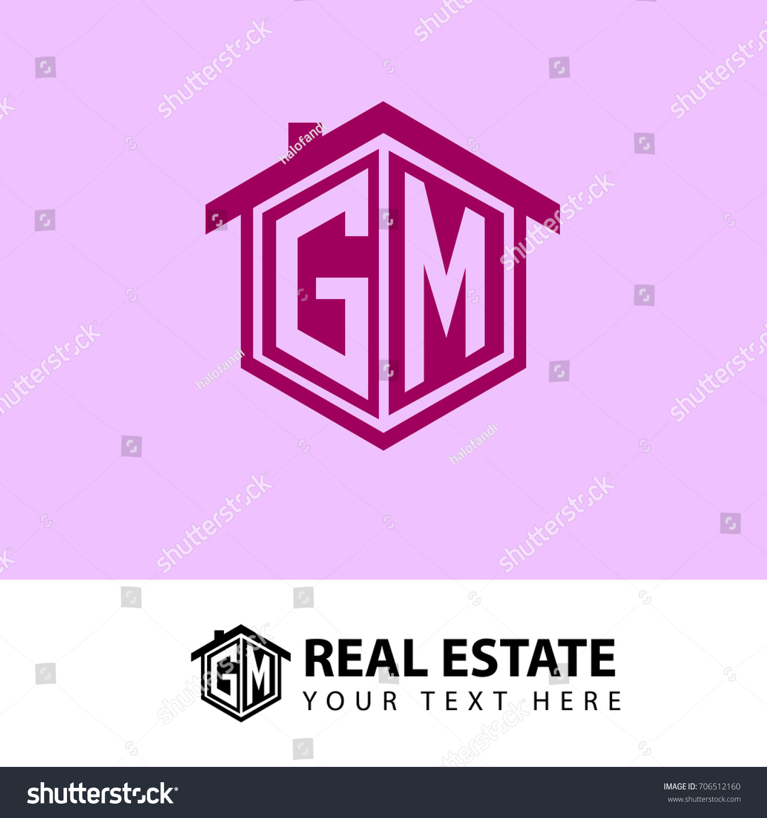 Initial Letter G M GM House Stock Vector (Royalty Free) 706512160 ...