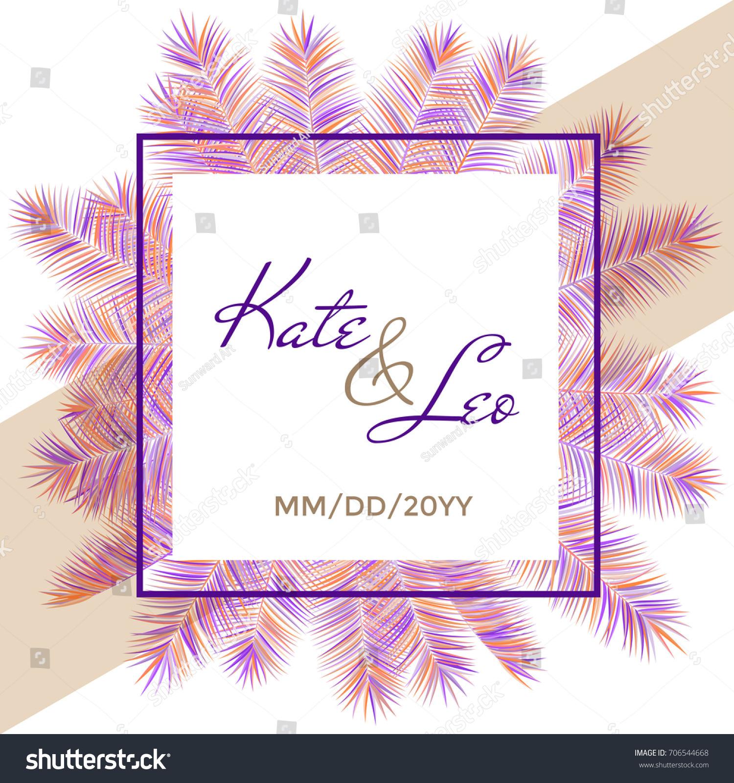 wedding invitation card template vector palm stock vector 706544668