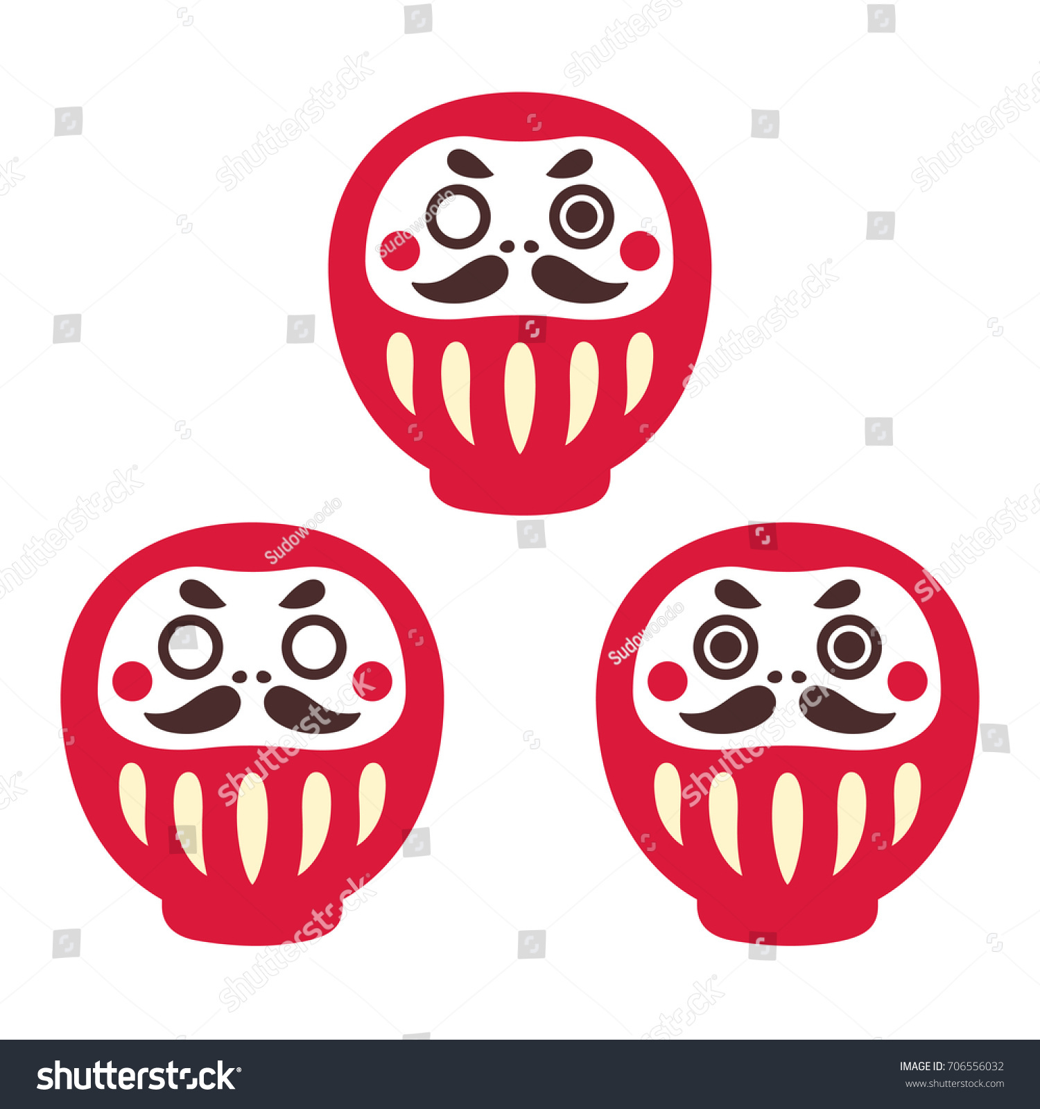 Japanese Daruma Doll Set Three Oneeyed Stock Vector Royalty Free