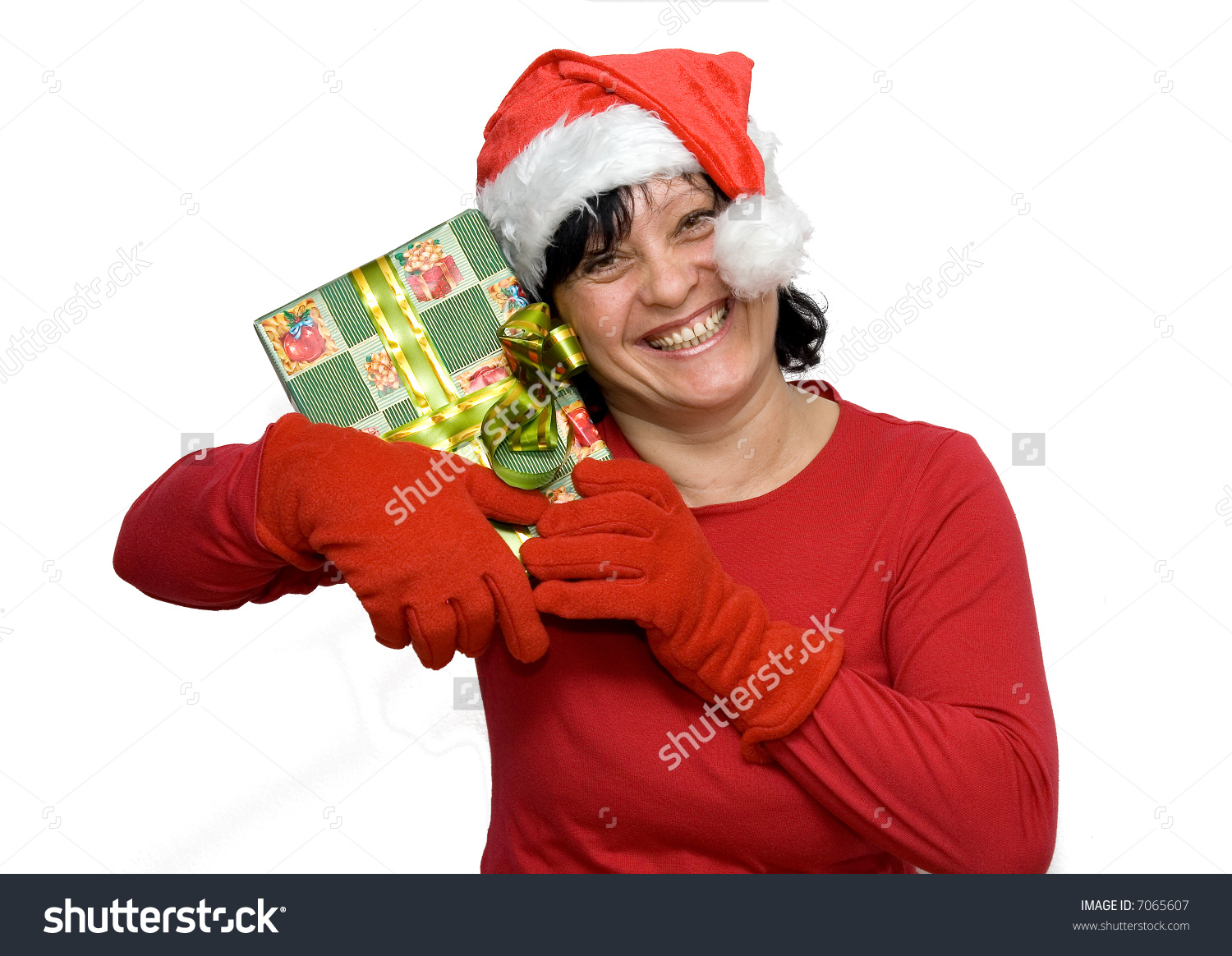 Happy Woman Christmas Clothes Gifts Studio Stock Photo 7065607 ...