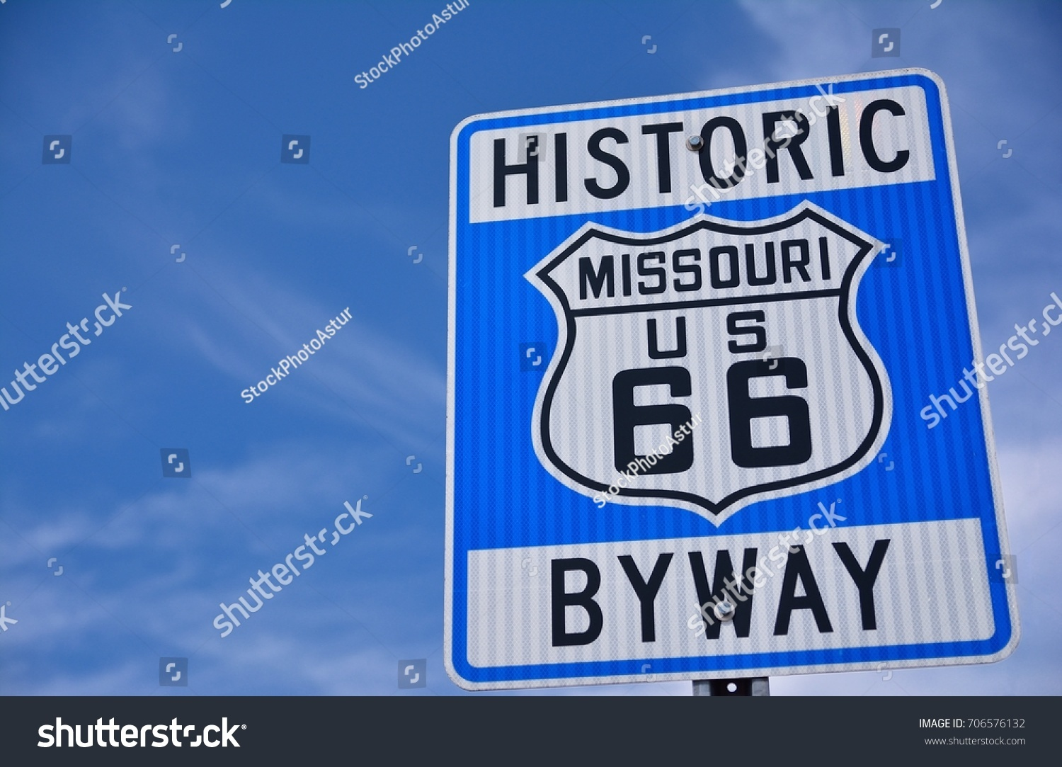 Historic Route 66 Highway Sign Missouri Stock Photo & Image (Royalty ...