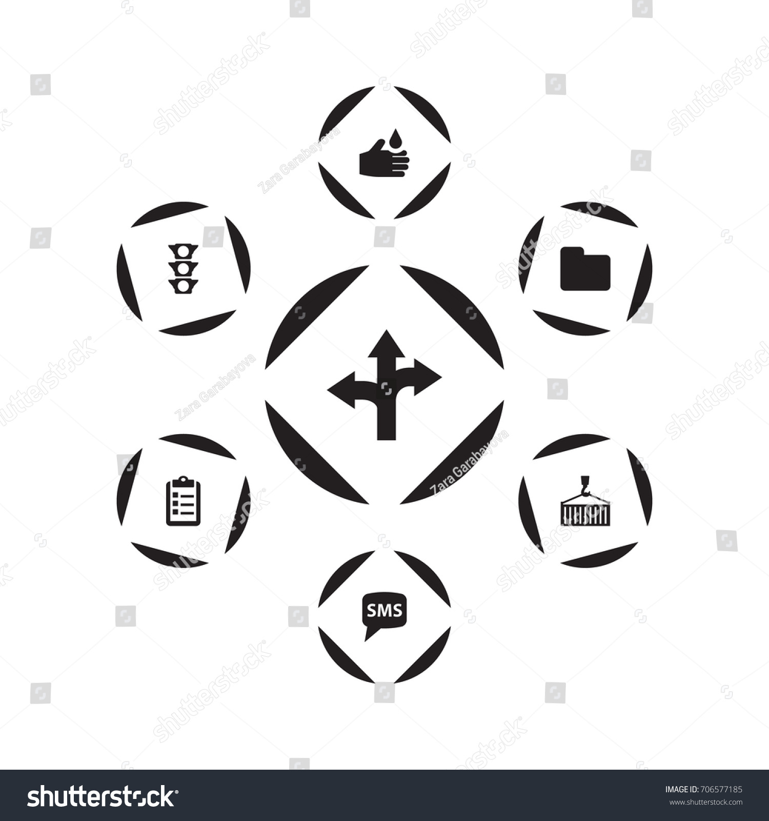 Set 7 Systematization Icons Setcollection Loading Stock Vector