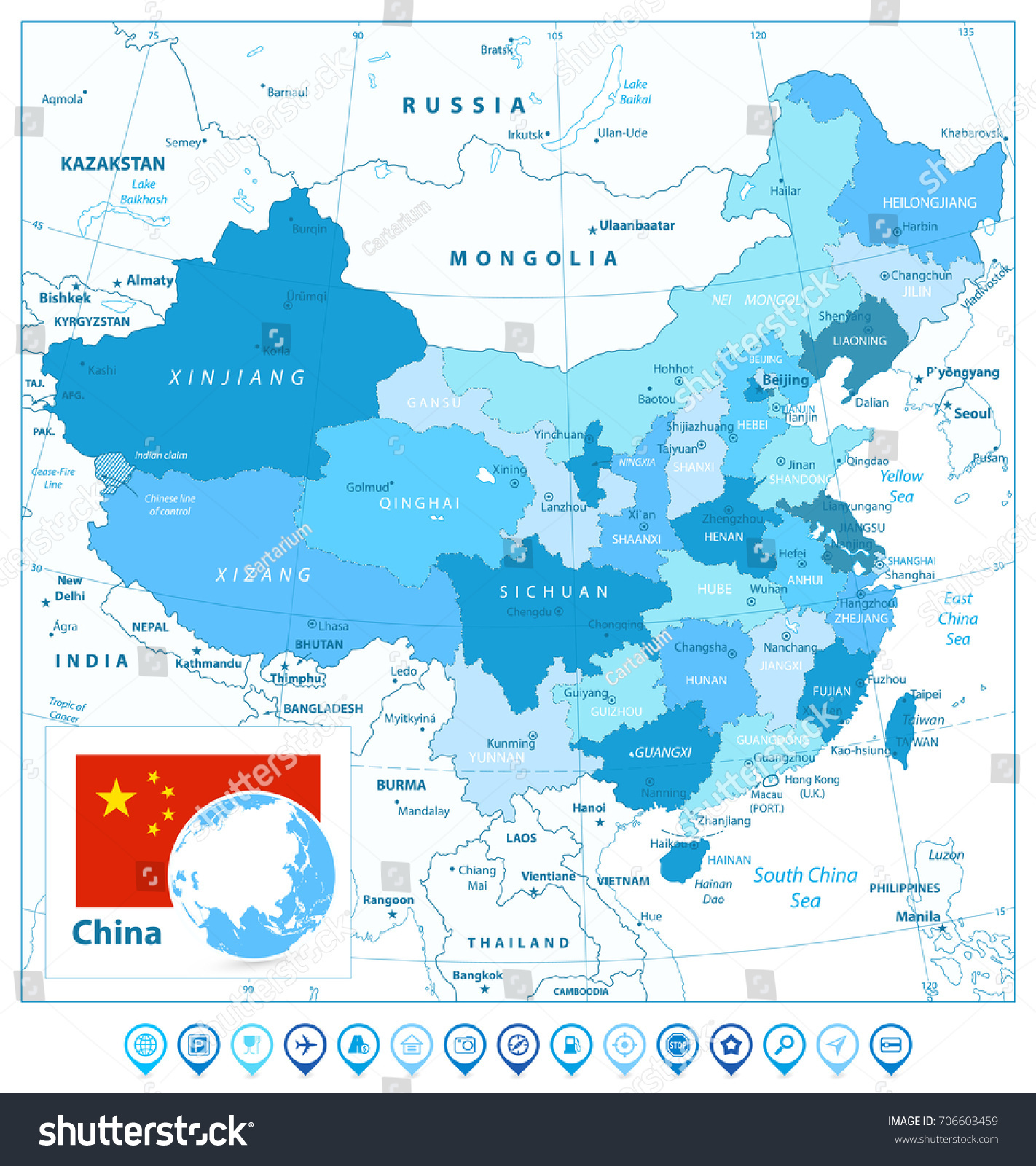 China map map pointers colors blue vectores en stock 706603459 china map and map pointers in colors of blue detailed vector map of china gumiabroncs Image collections