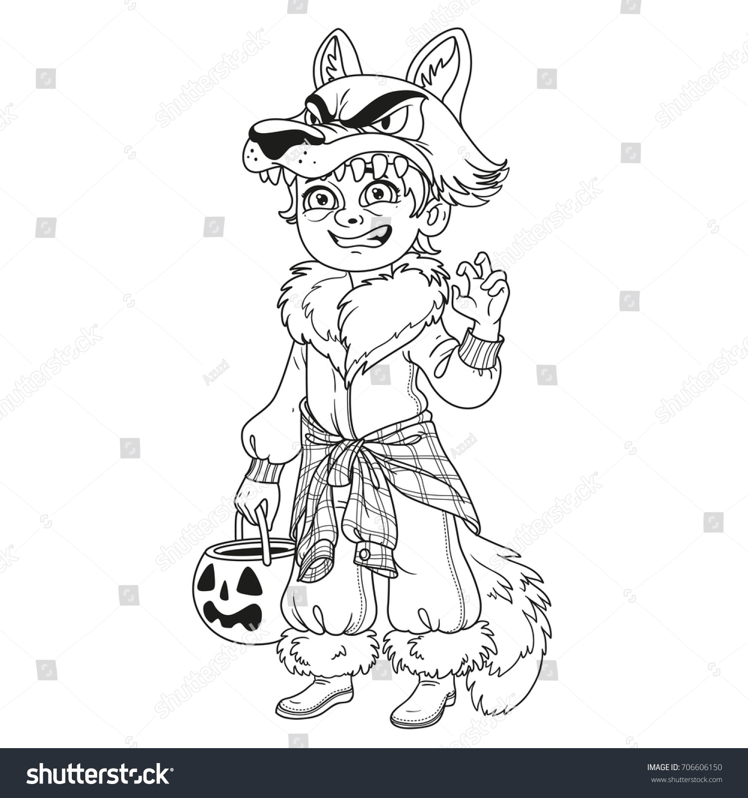 Cute boy in werewolf costume with a pumpkin bag for sweets trick or ...