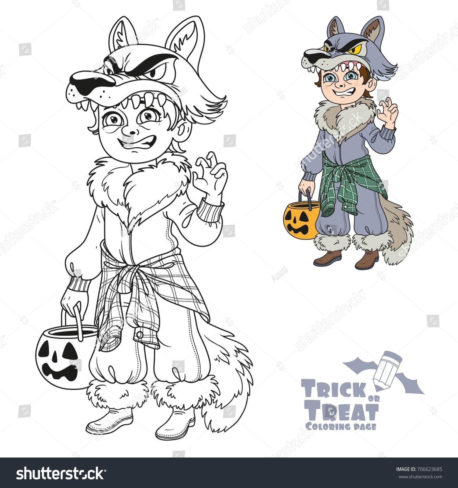Cute Boy Werewolf Costume Pumpkin Bag Stock Vector