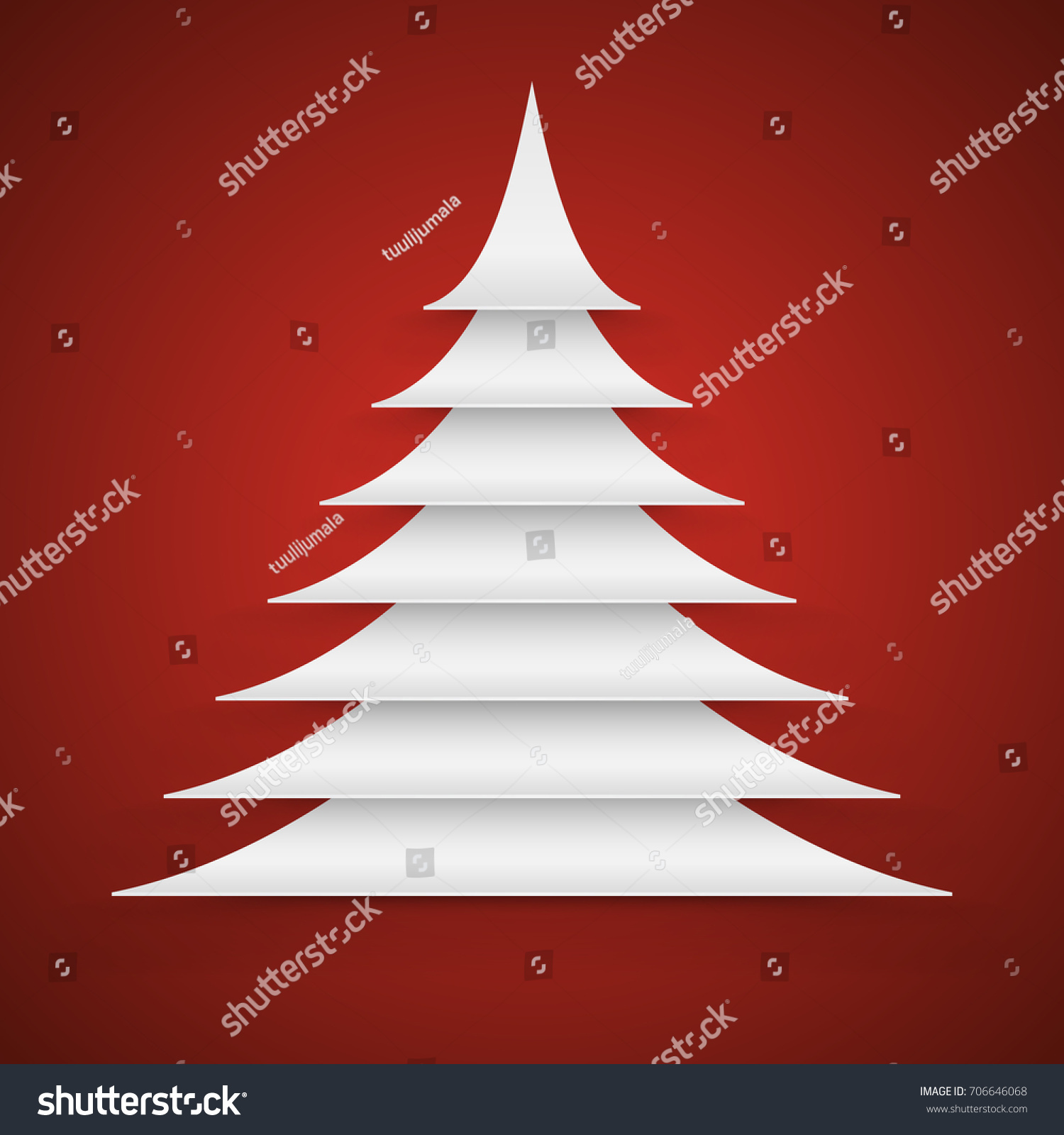 Abstract white paper cut christmas tree on red background vector card