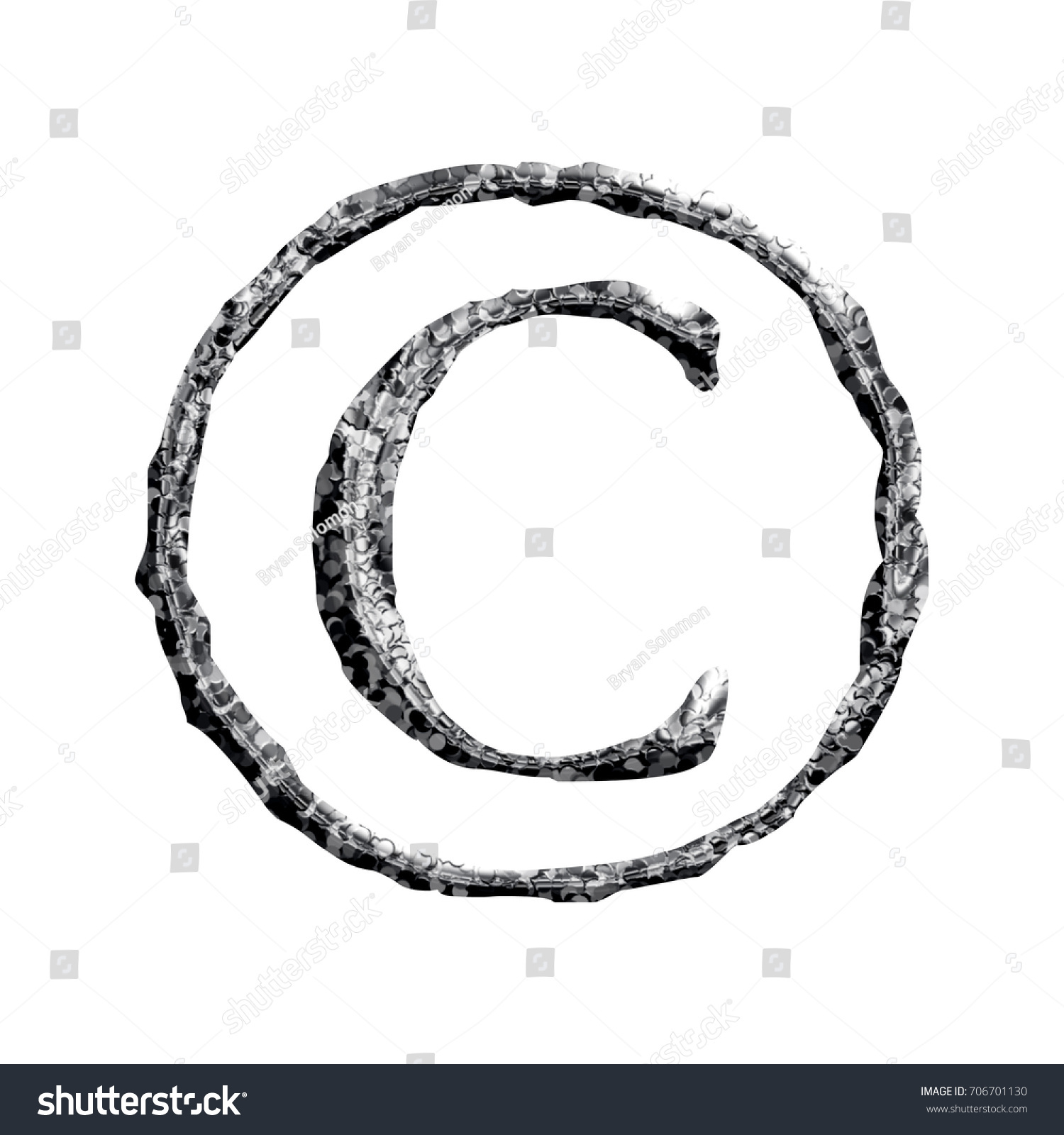 Circle Pounded Metal Style Copyright Symbol Stock Illustration