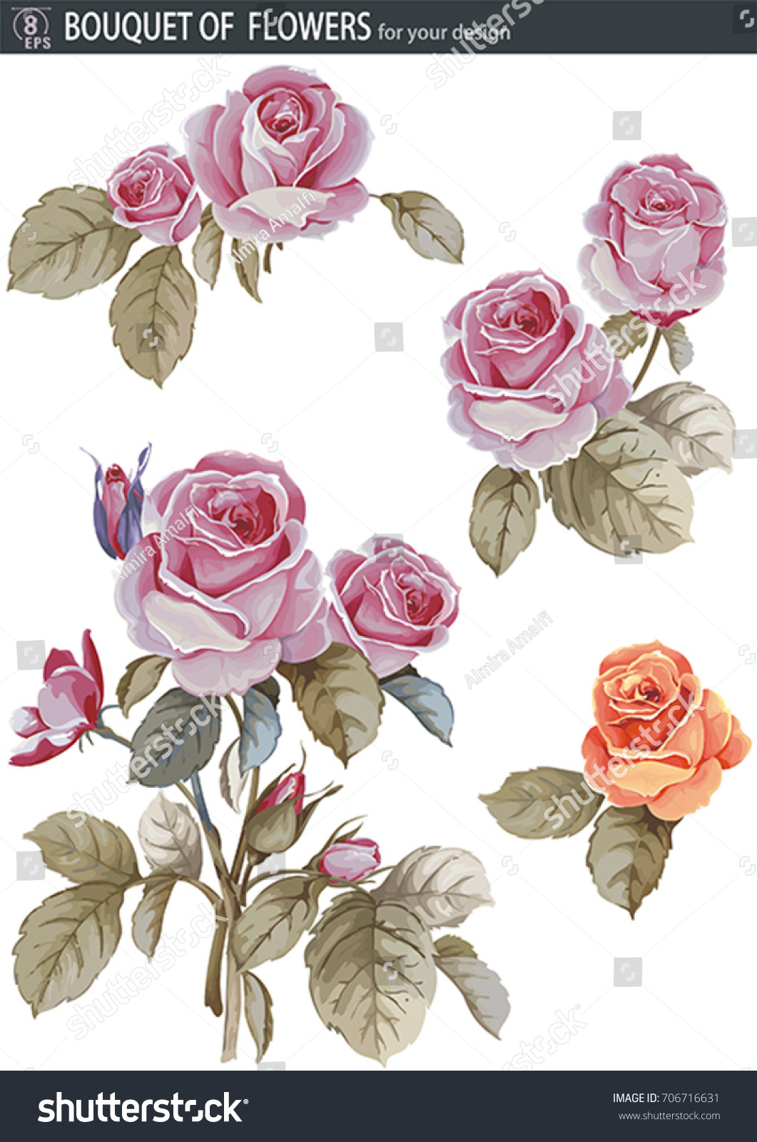 Vector Set With Bouquet Of Rose Flower Beautiful Floral Element For