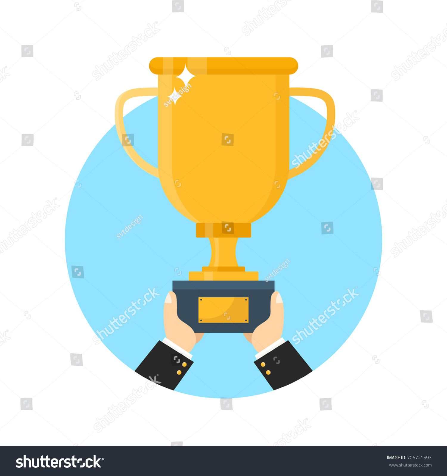 Hand With Gold Trophy Cup Flat Modern Style Illustration Icon Design Isolated On White