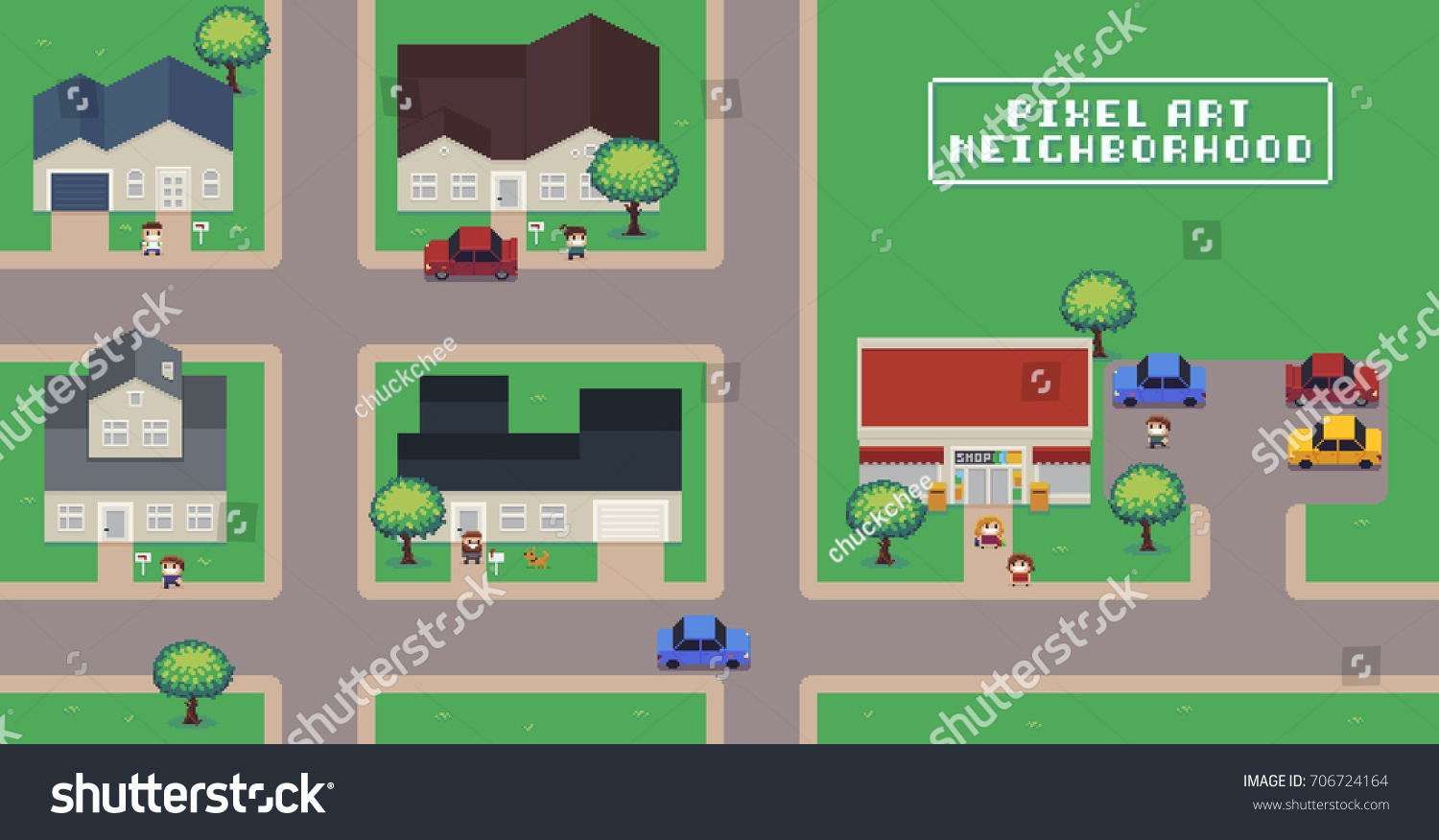 Pixel art neighborhood map houses shop stock vector House map drawing images