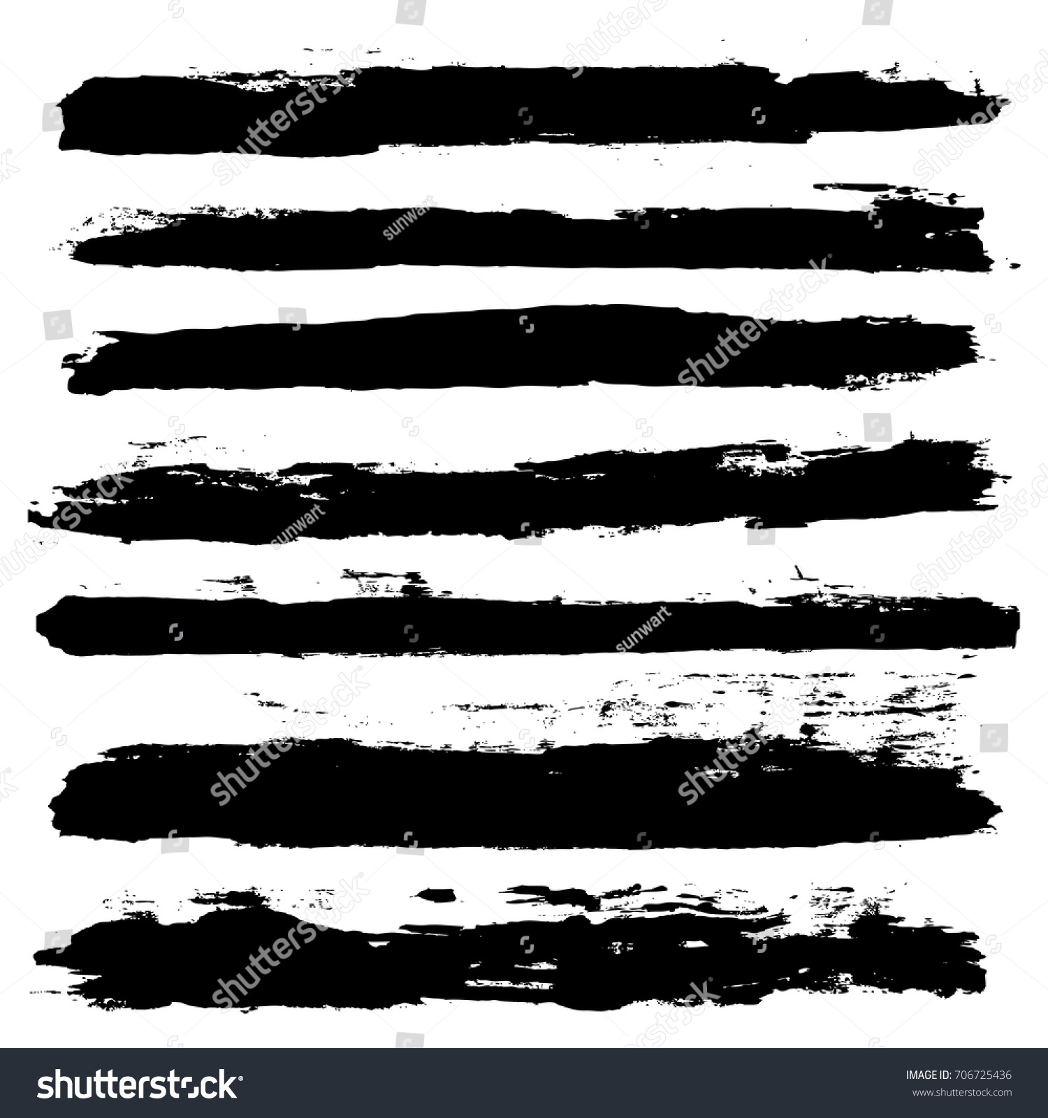 black brush strokes set backgrounds. Artistic  lines grunge collection. Set of black grungy hand painted brush strokes isolated on white. Abstract ink texture, design elements. #706725436