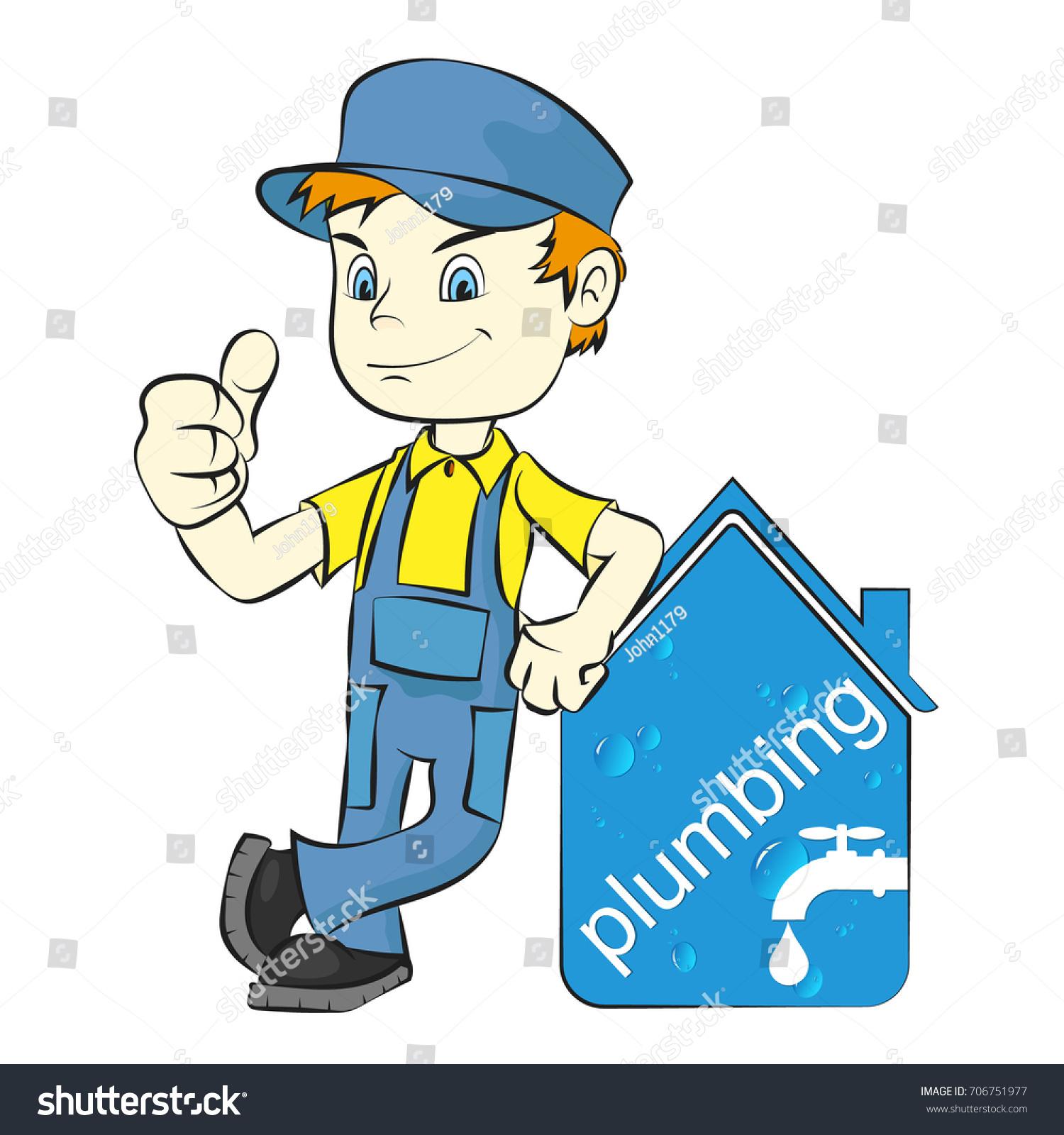 Plumber Repair Plumbing Sanitary Ware Vector Stock Vector 706751977 ...