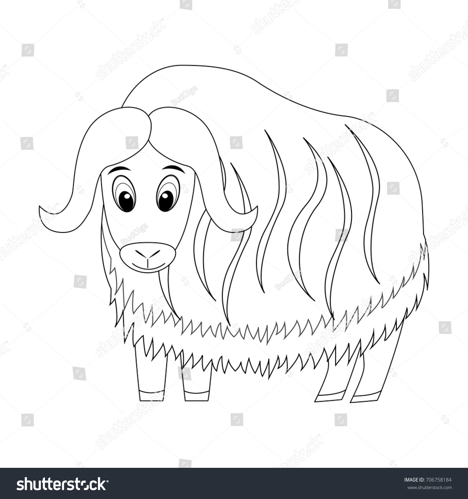 Colorless Funny Cartoon Musk Ox Vector Illustration Coloring Page Preschool Education Arctic