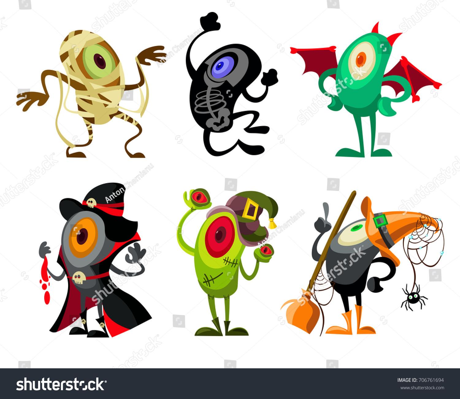 set cartoon characters halloween monsters different stock vector