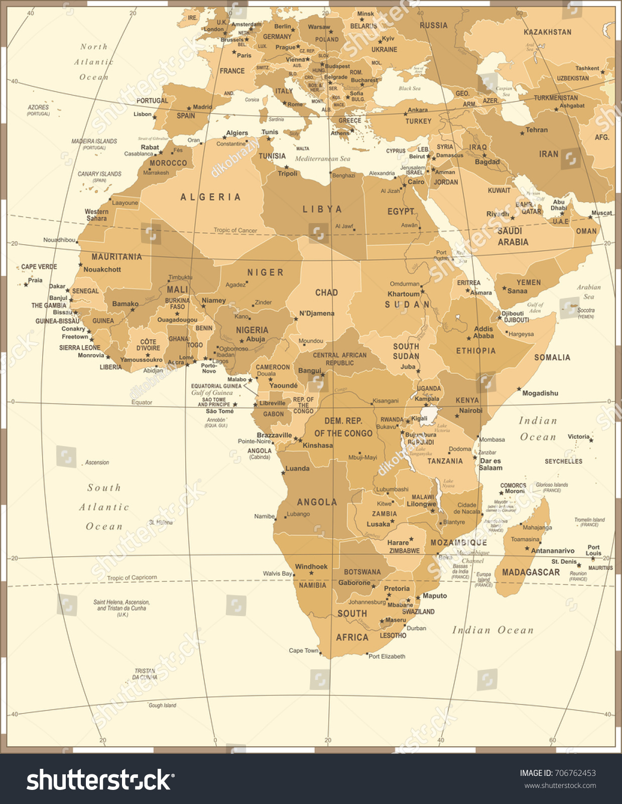 Africa Map Vintage Detailed Vector Illustration Stock Vector
