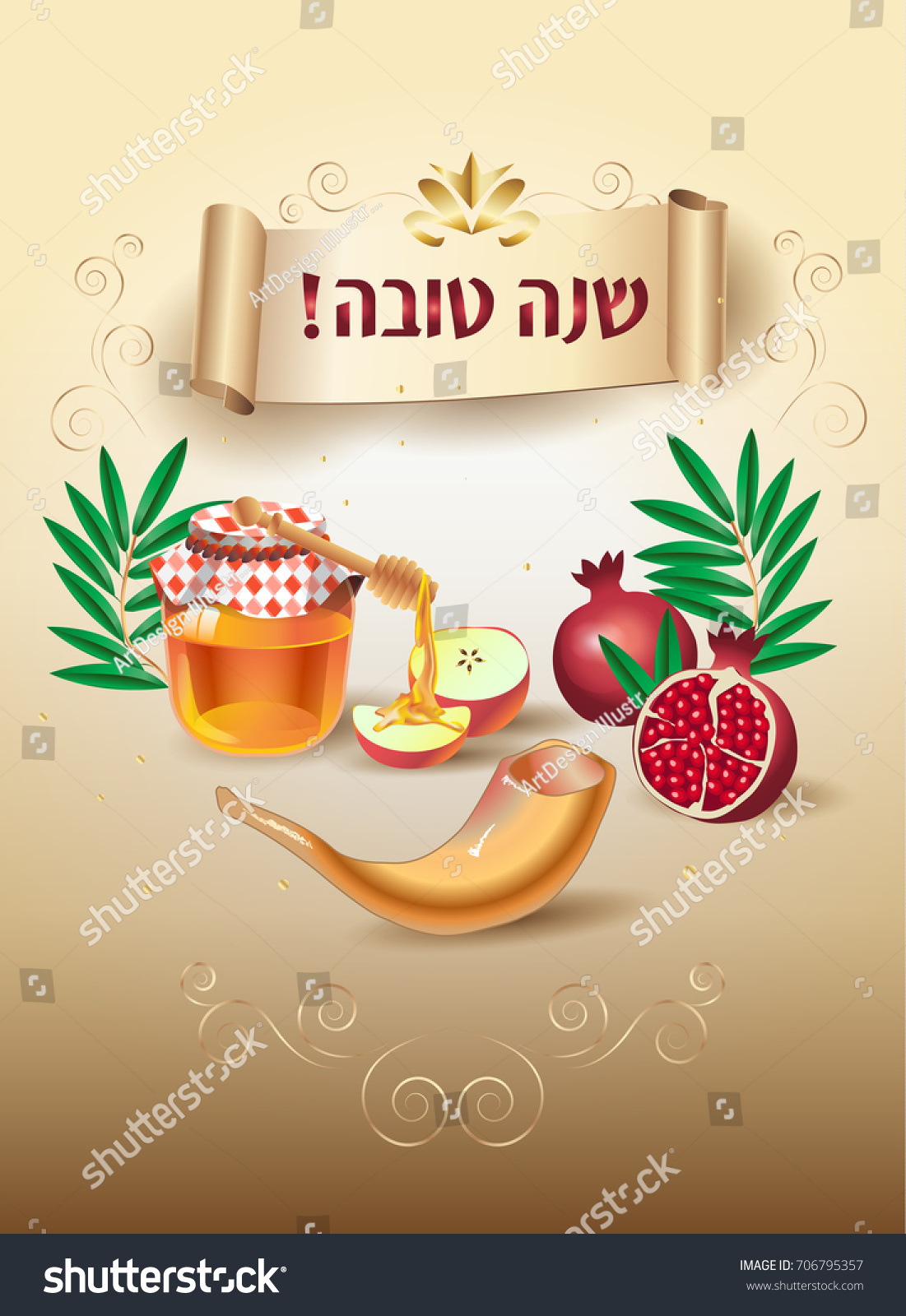 Happy new year rosh hashanah greeting stock vector 706795357 rosh hashanah greeting card jewish new year text shana kristyandbryce Choice Image