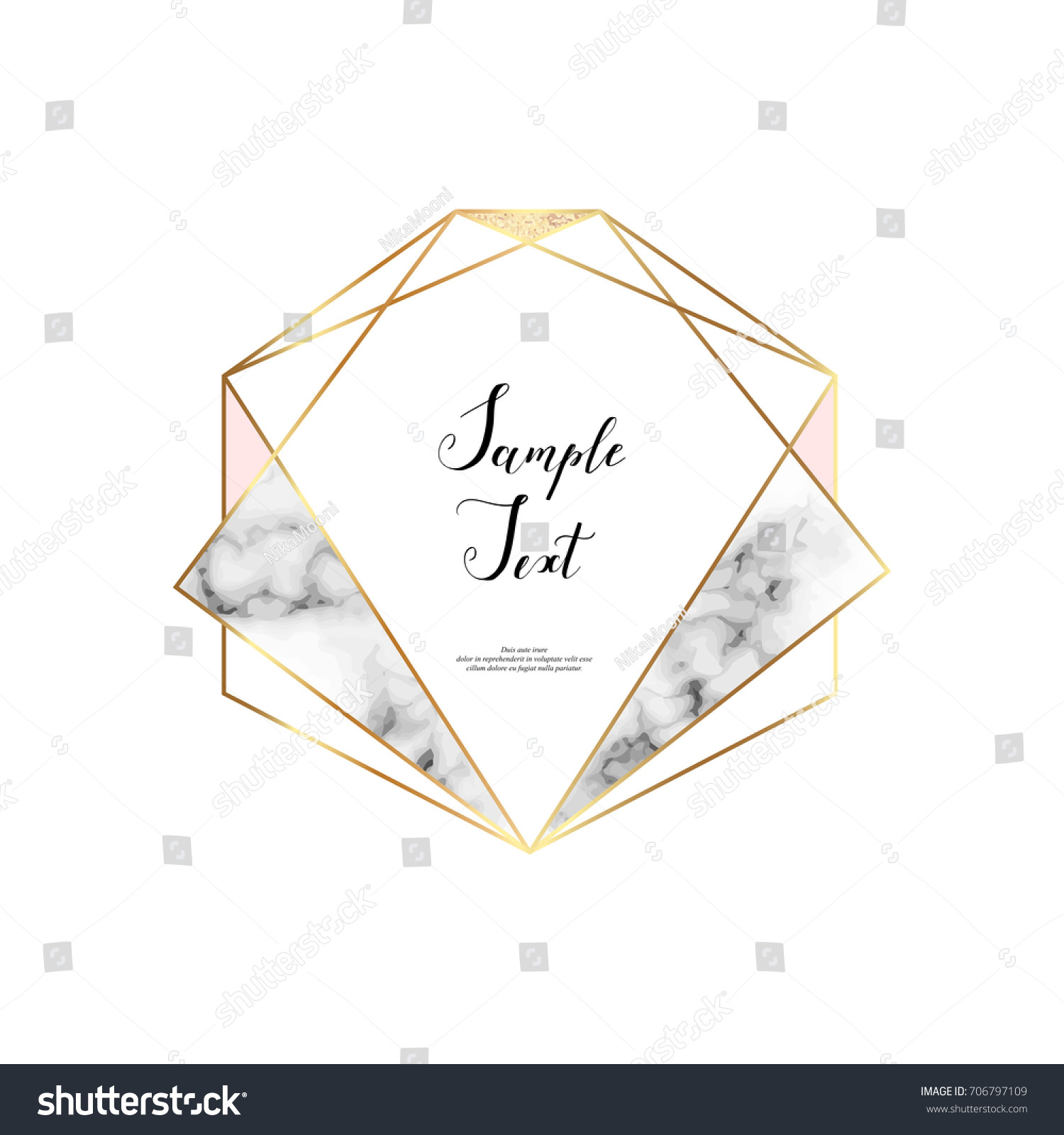 Marble Polygonal Frame Gold Glitter Triangles Stock Vector ...