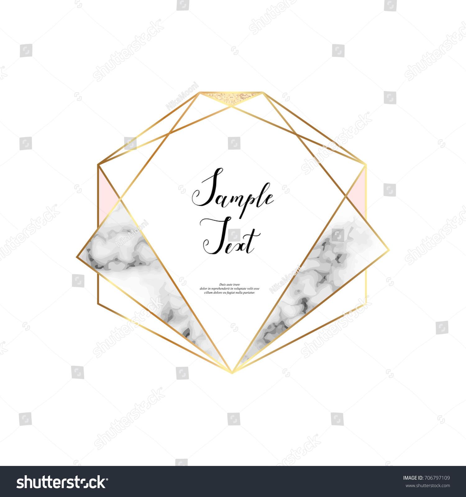 Polygonal Hexagon Frame Gold Lines Golden Stock Vector (2018 ...